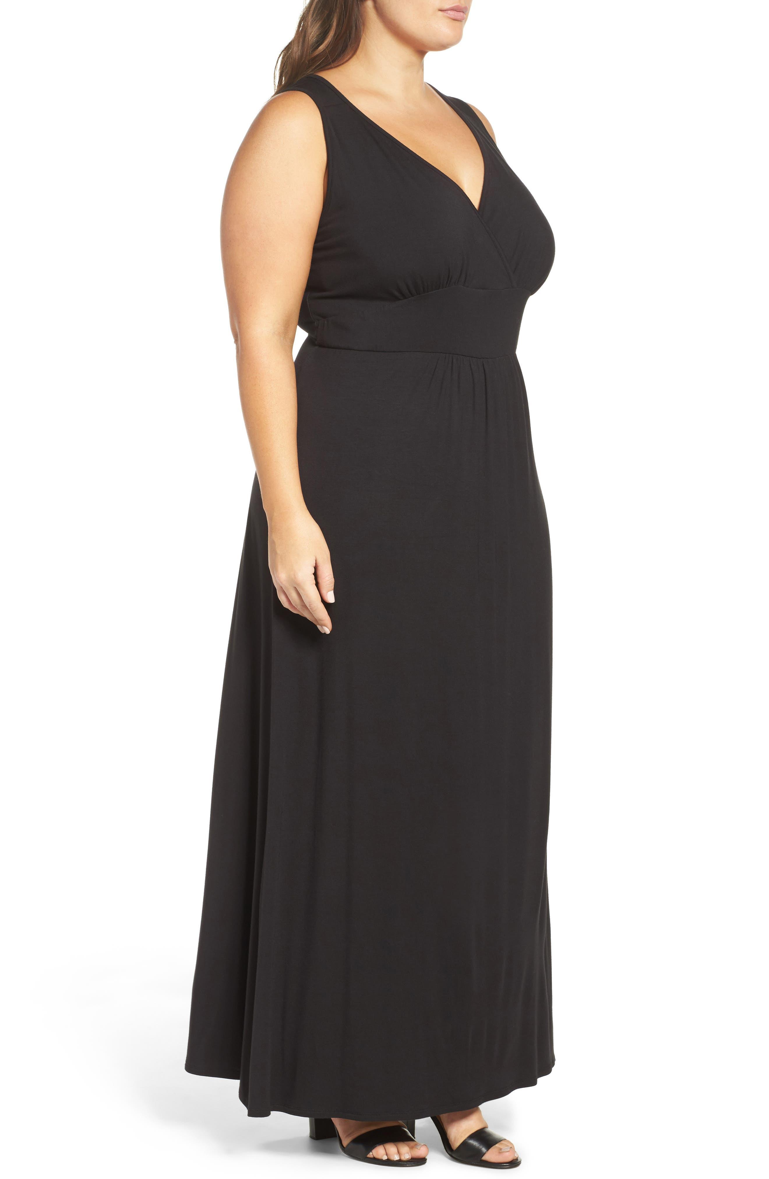 Surplice Maxi Dress,                             Alternate thumbnail 3, color,                             Black