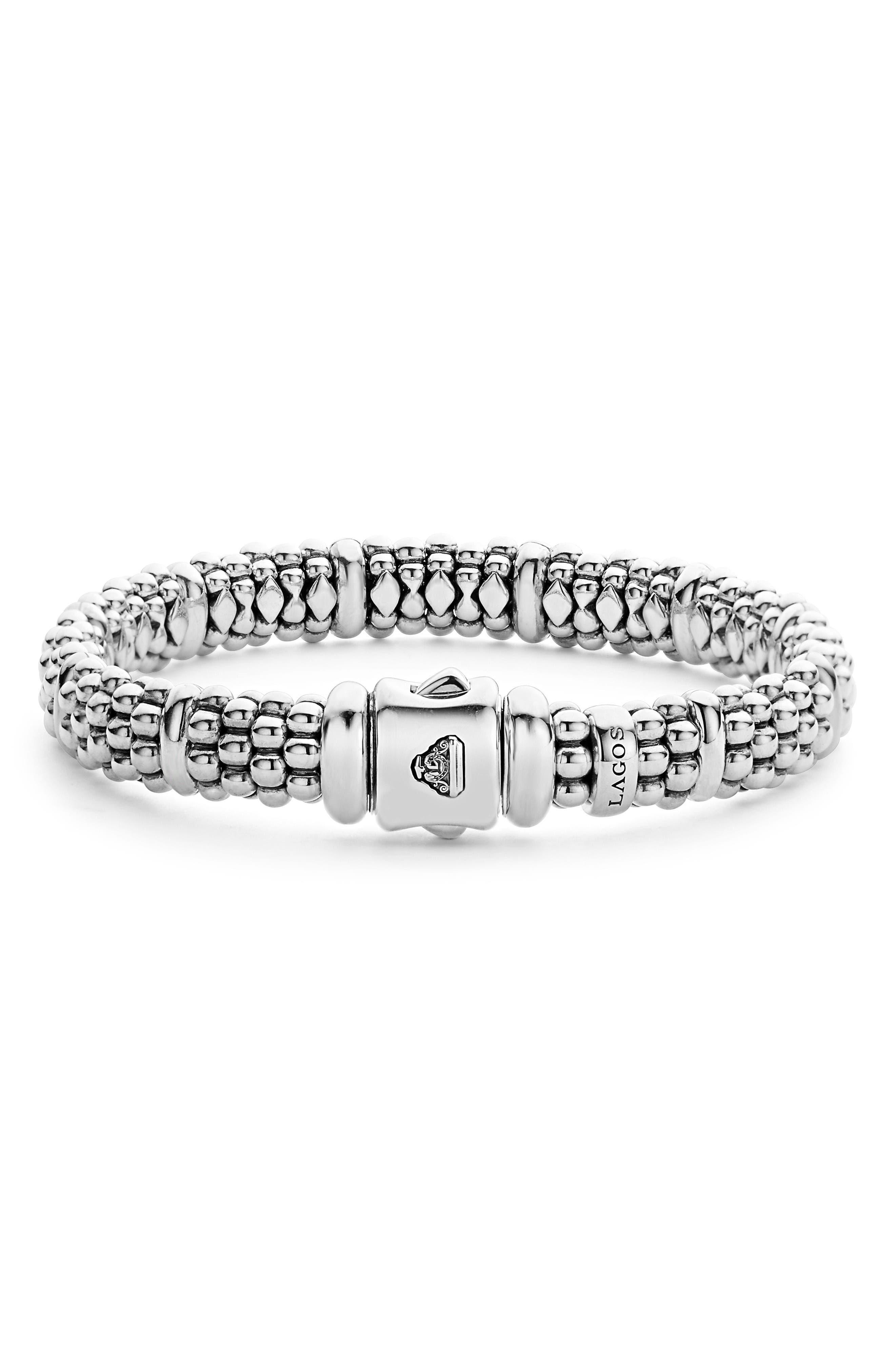 Oval Rope Caviar Bracelet,                             Alternate thumbnail 3, color,                             Silver