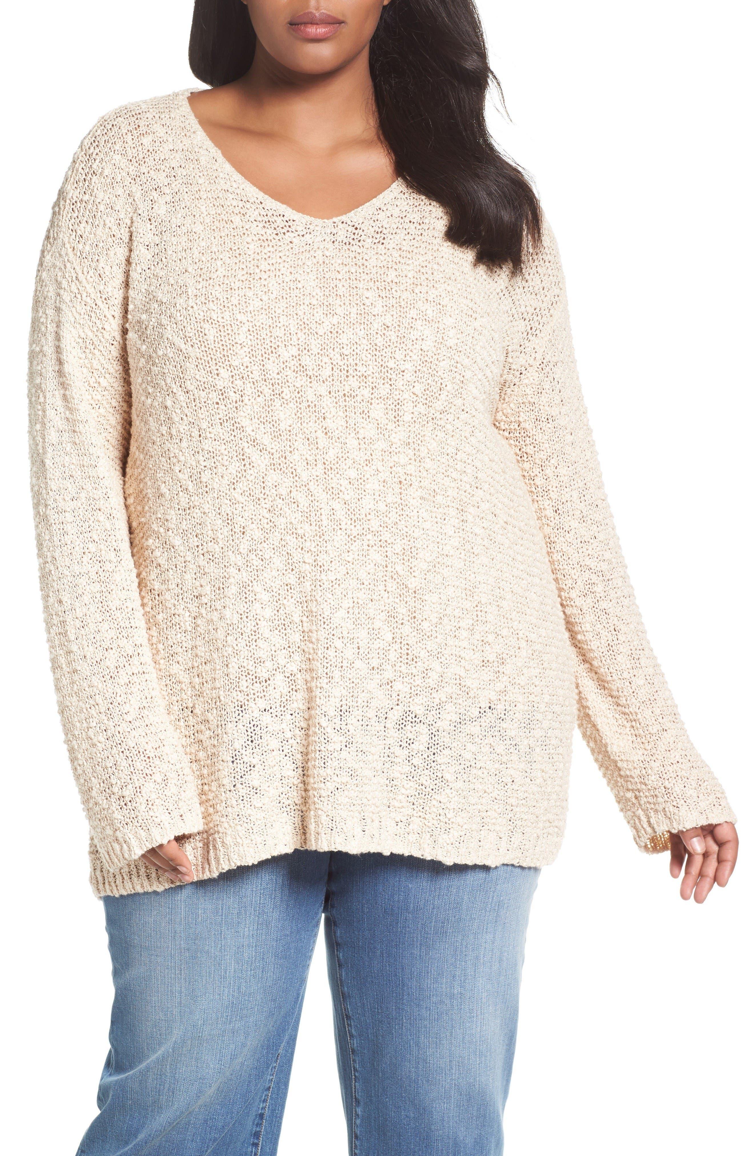 Caslon® Summer Popover Sweater (Plus Size)