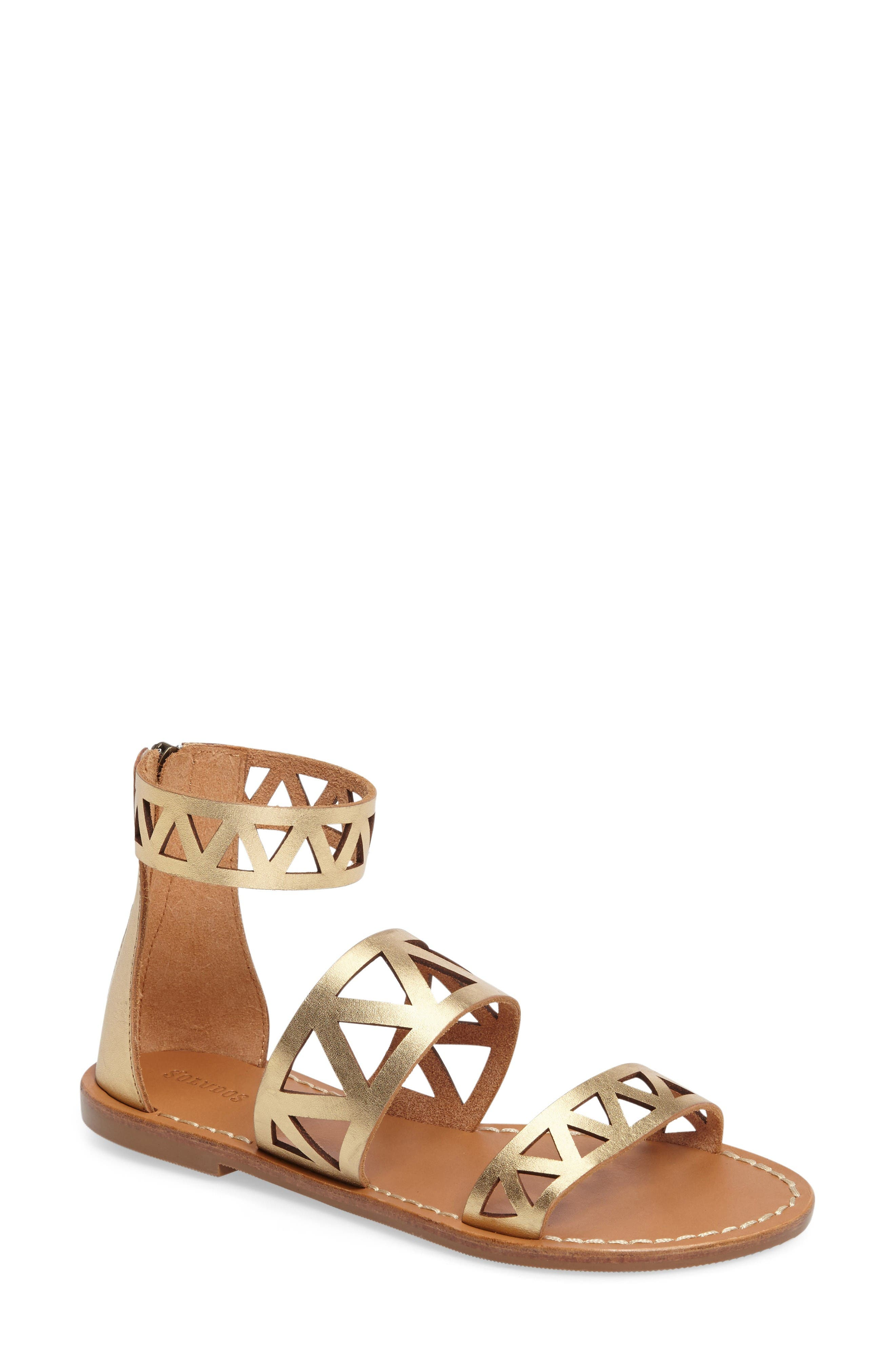 Ankle Cuff Sandal,                         Main,                         color, Gold Leather