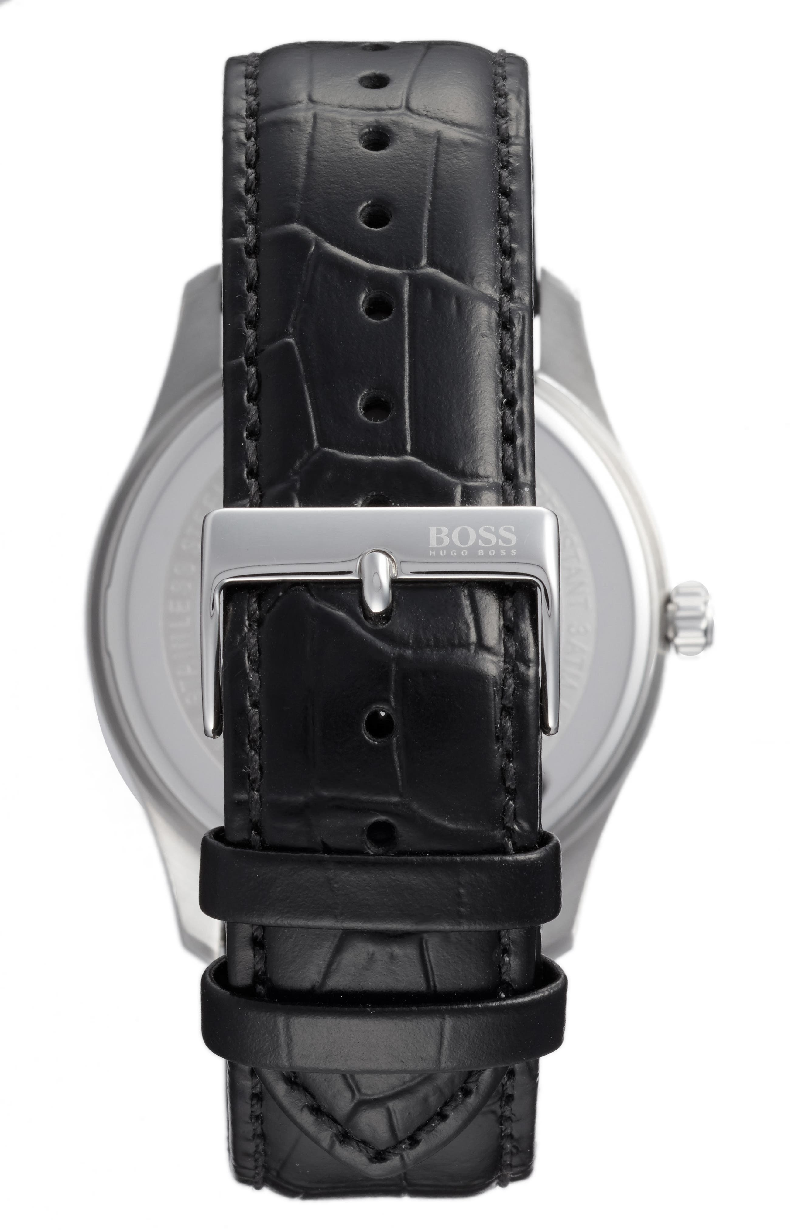 BOSS Commander Multifunction Leather Strap Watch, 41mm,                             Alternate thumbnail 2, color,                             Silver/ Black