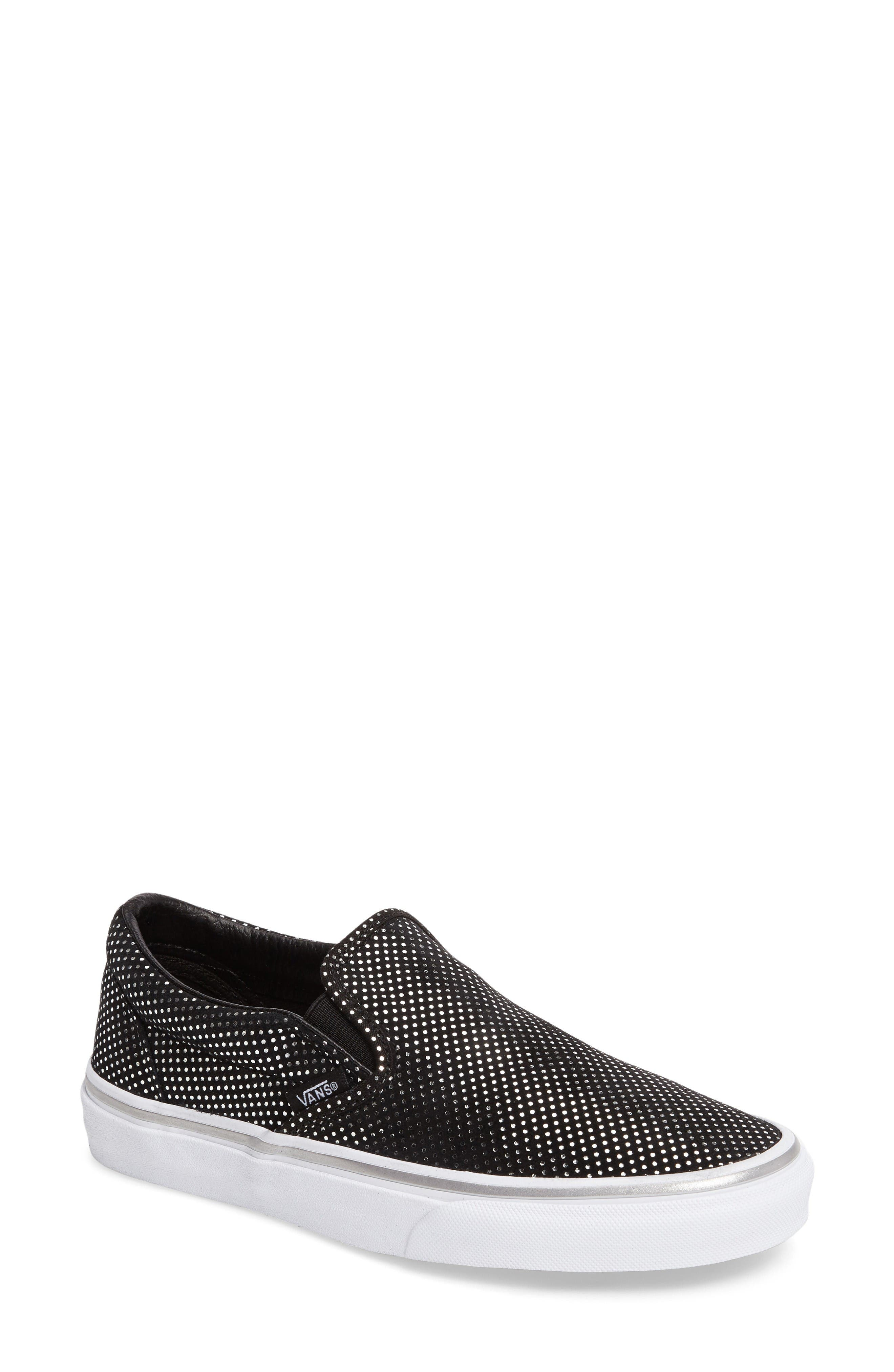 Classic Slip-On Sneaker,                             Main thumbnail 1, color,                             Metallic Dots Silver/ Black