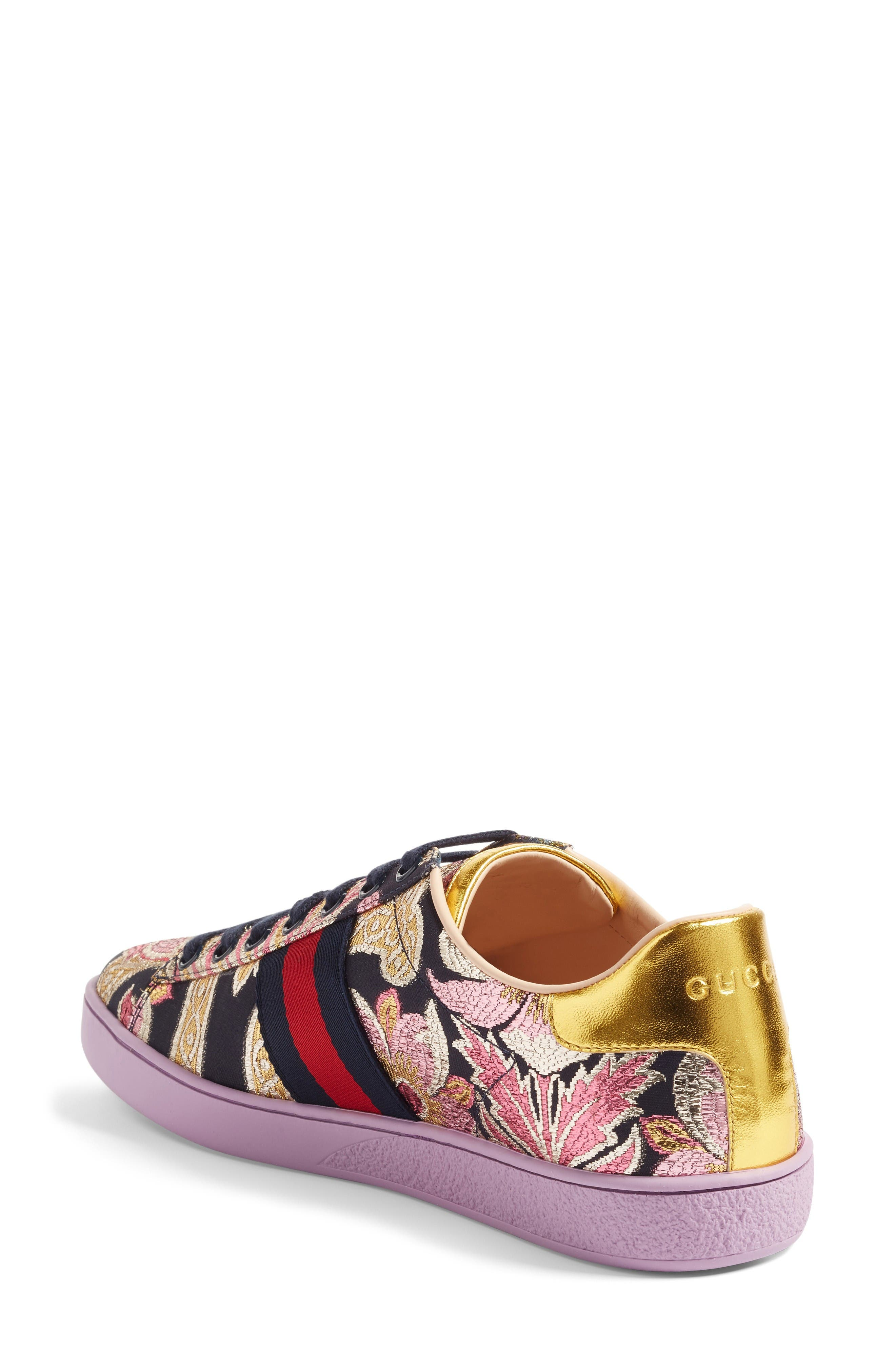 Alternate Image 2  - Gucci New Ace Floral Sneaker (Women)