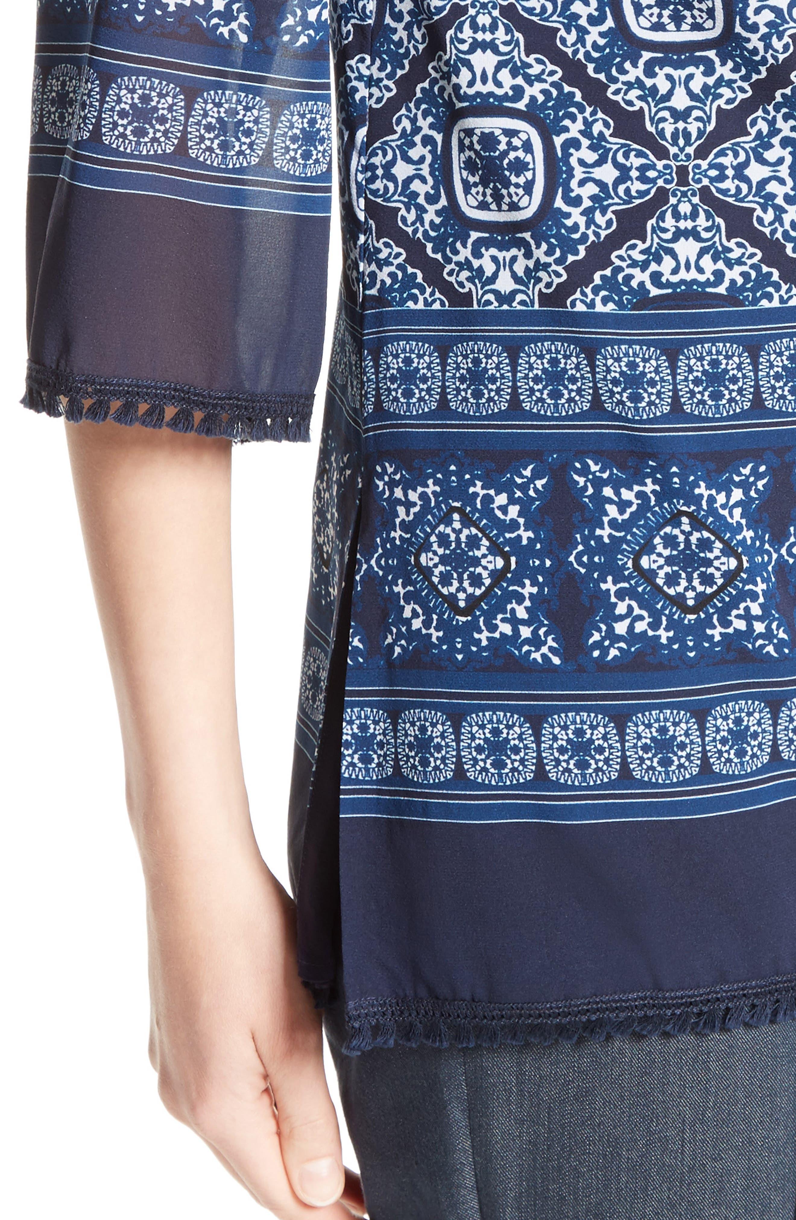 Alternate Image 3  - St. John Collection Jaipur Tile Print Stretch Silk Blouse