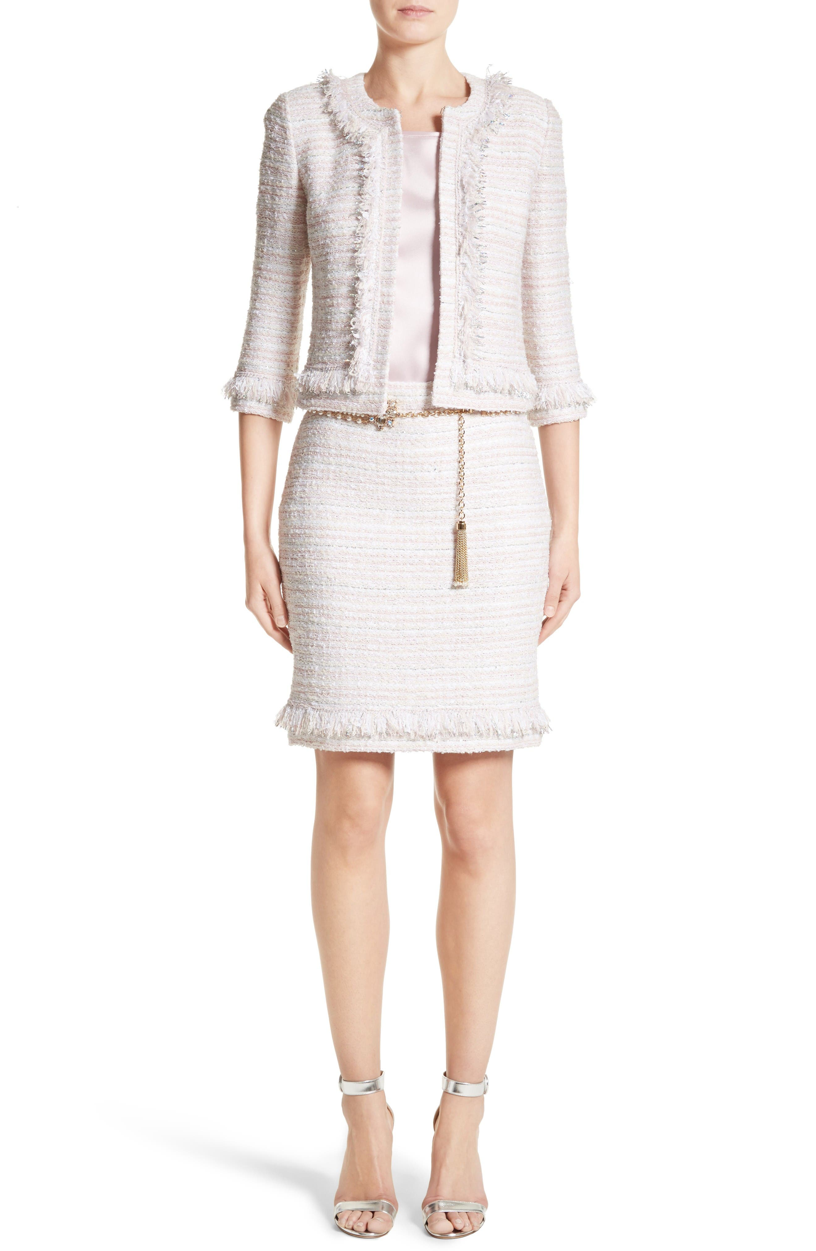 Alternate Image 8  - St. John Collection Padmesh Tweed Knit Fringe Jacket