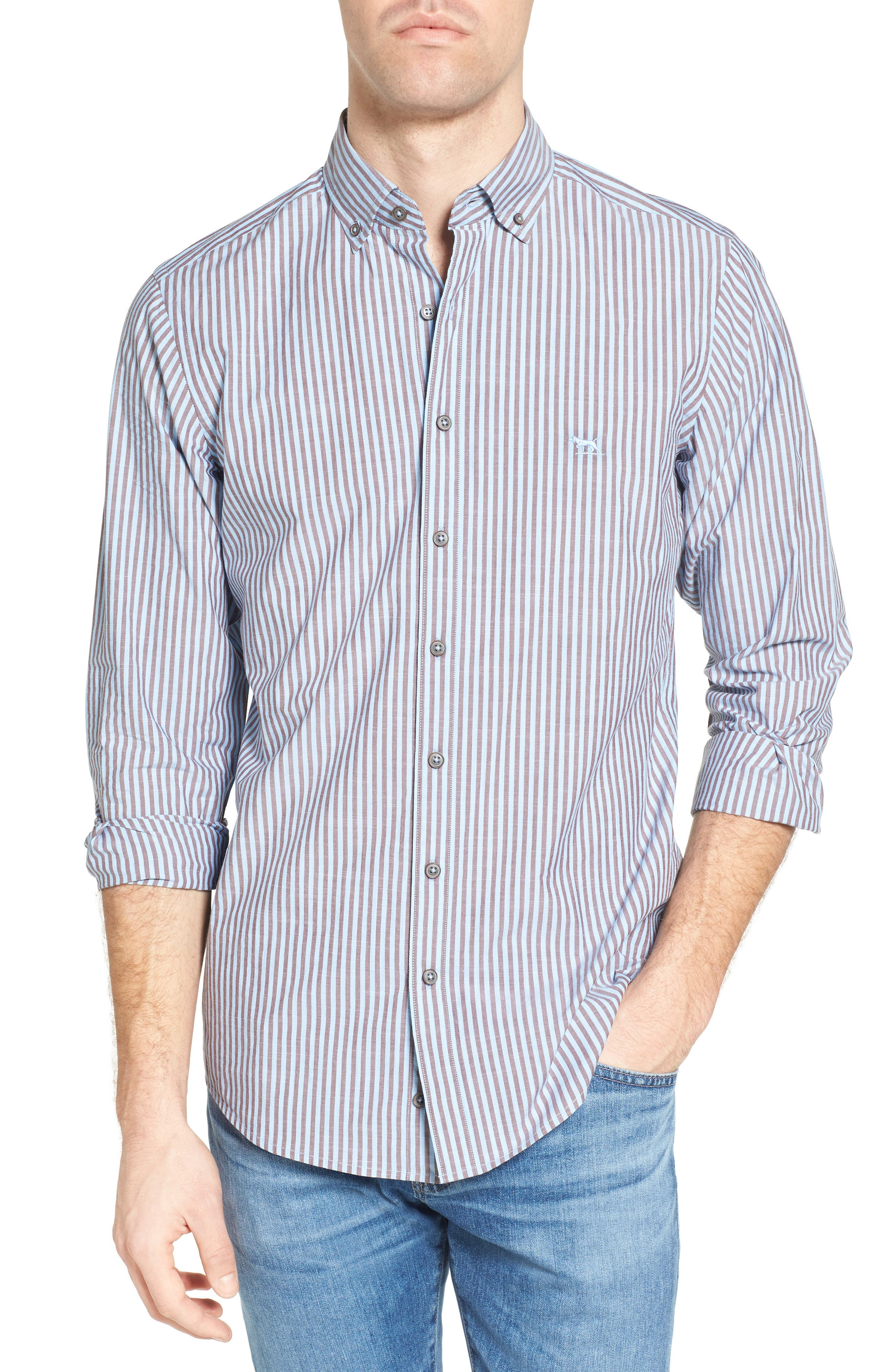 Fitzroy Stripe Sport Shirt,                             Main thumbnail 1, color,                             Sky