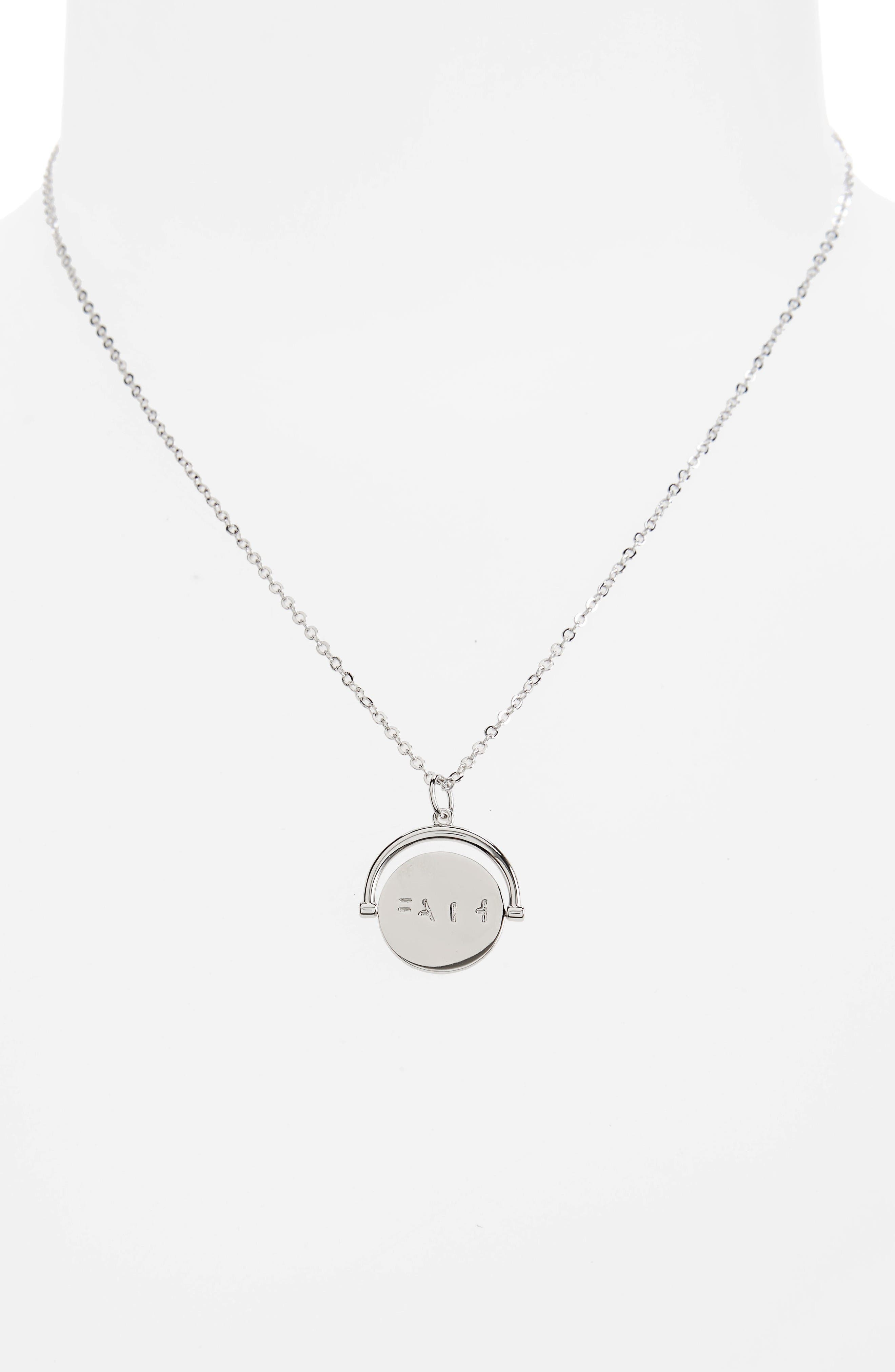 Faith Love Code Charm Necklace,                             Alternate thumbnail 3, color,                             Faith/ Silver
