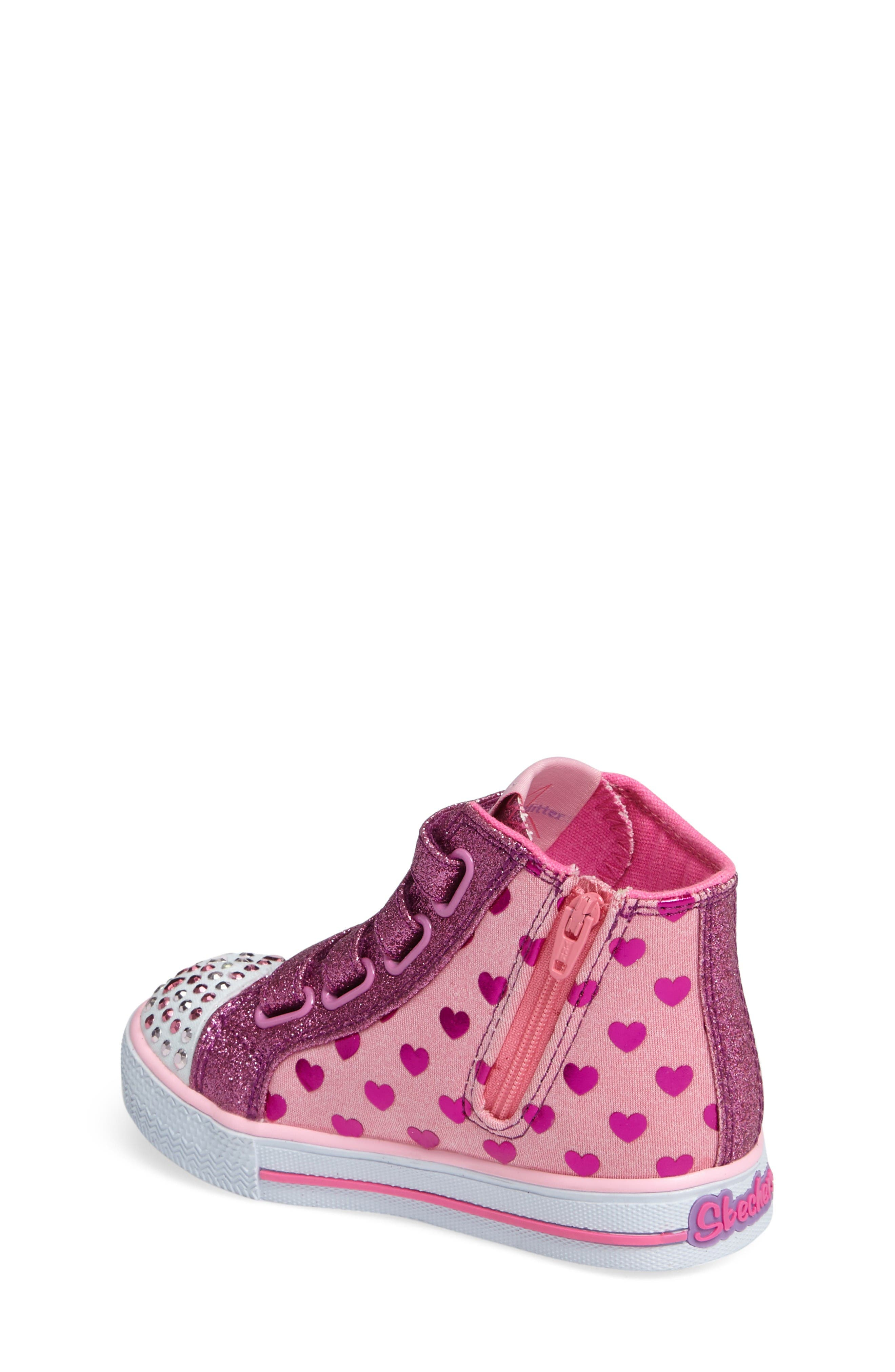 'Twinkle Toes - Shuffles' High Top Sneaker,                             Alternate thumbnail 2, color,                             Pink/ Hot Pink