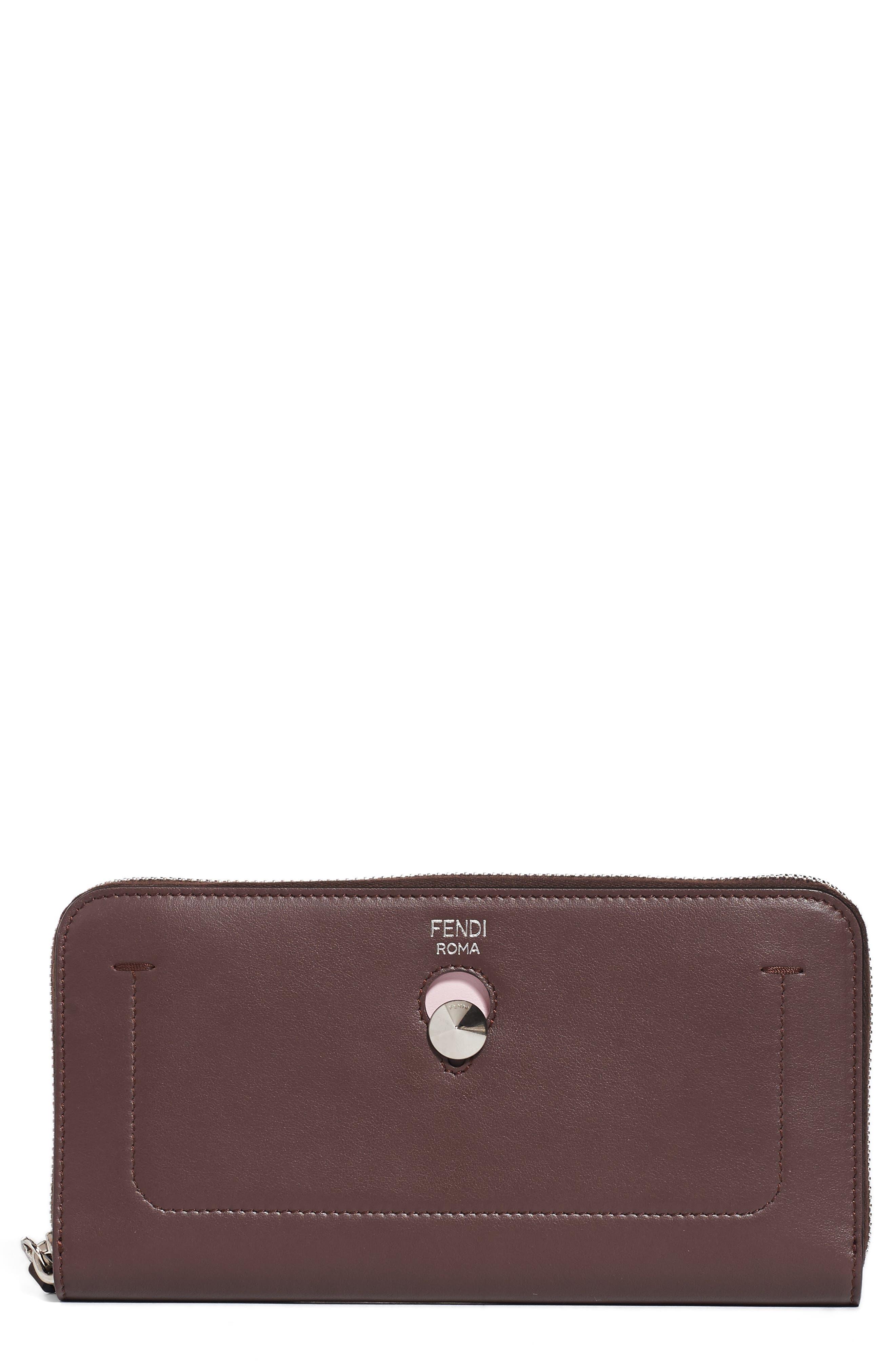 FENDI Dotcom Calfskin Leather Clutch Wallet