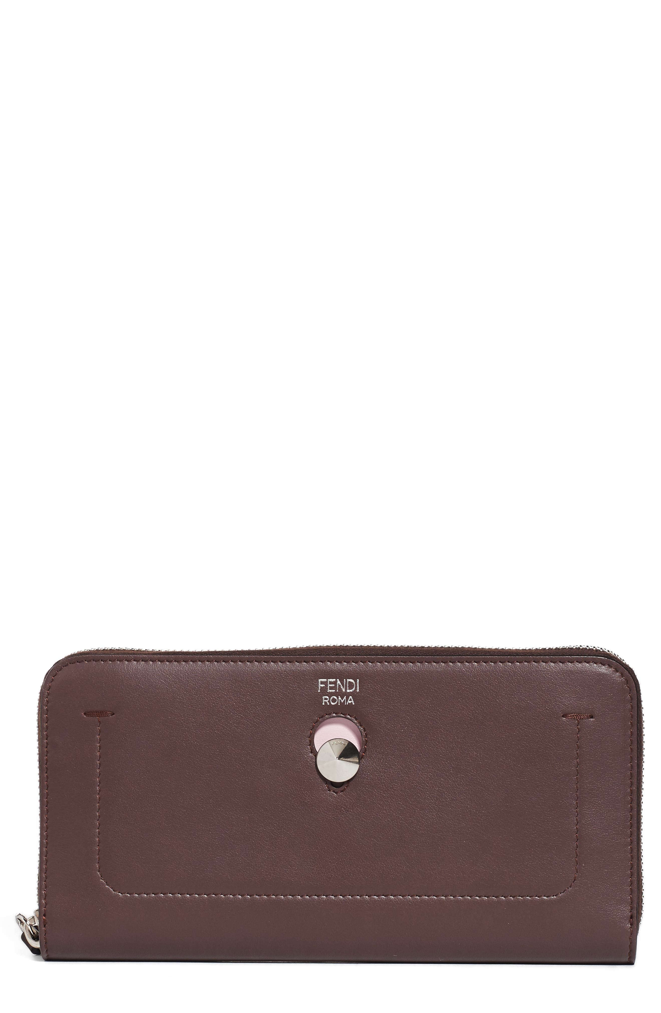 Dotcom Calfskin Leather Clutch Wallet,                         Main,                         color, Red