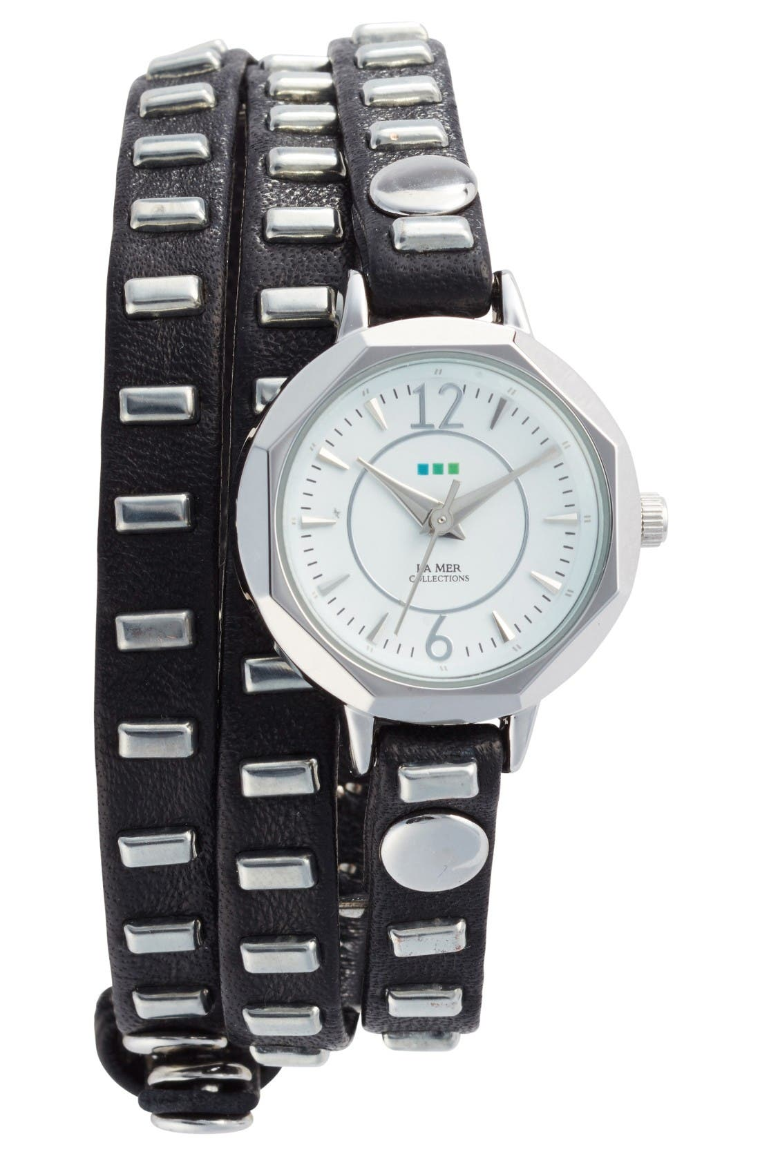 Baguette Stud Leather Wrap Strap Watch, 35mm,                         Main,                         color, Black/ White / Silver