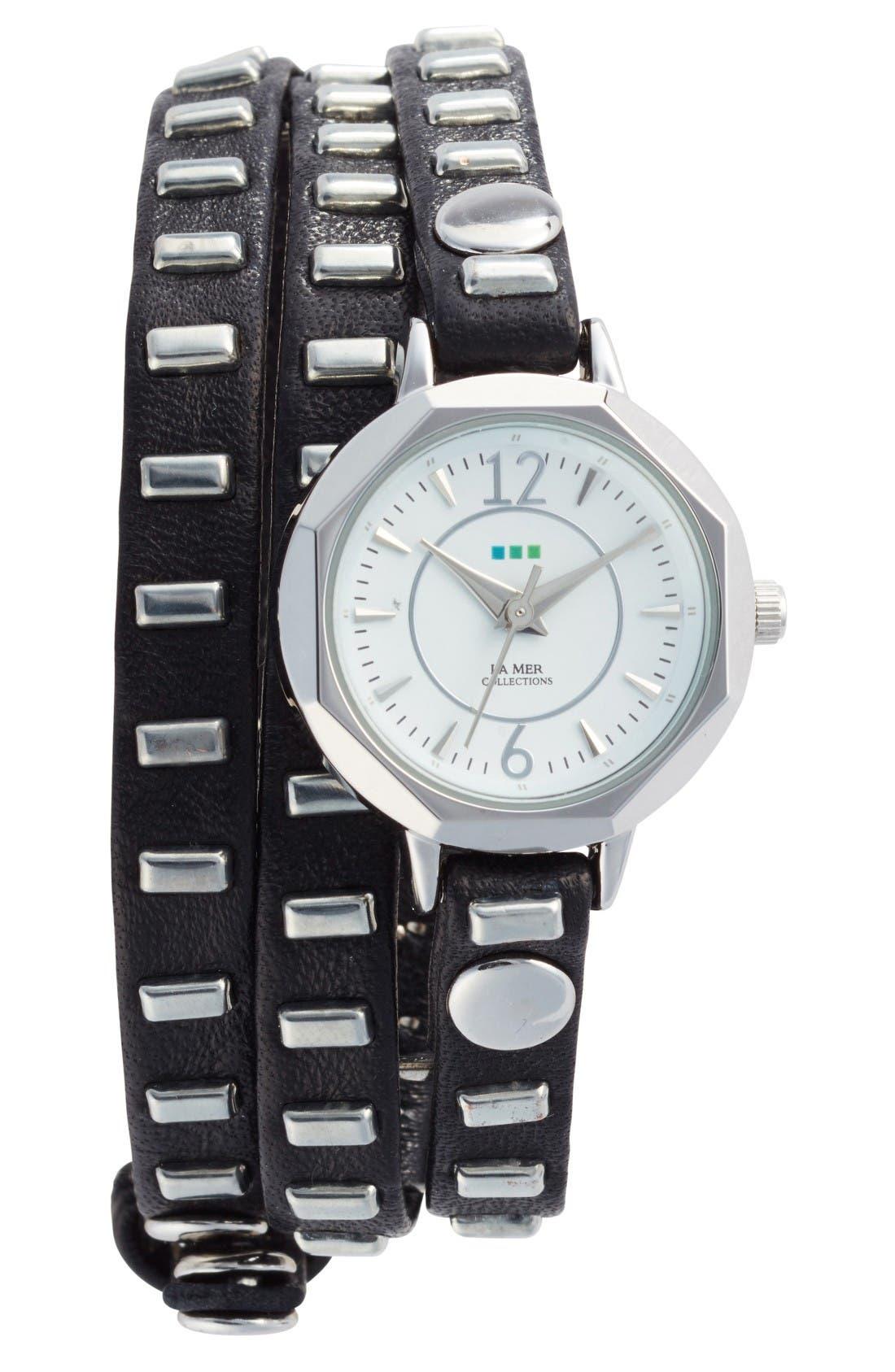 La Mer Collections Baguette Stud Leather Wrap Strap Watch, 35mm
