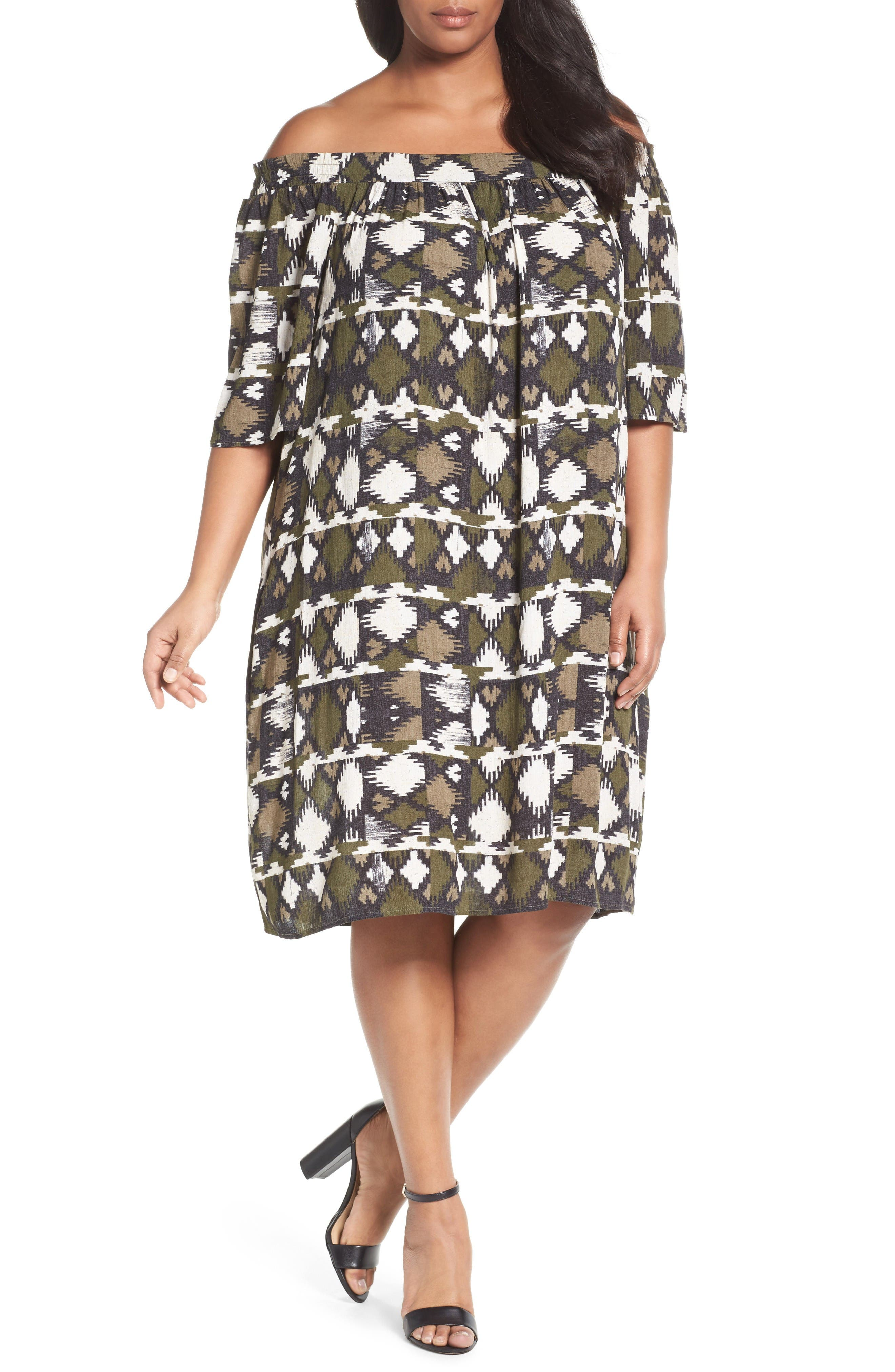 Caslon® Off the Shoulder Shift Dress (Plus Size)