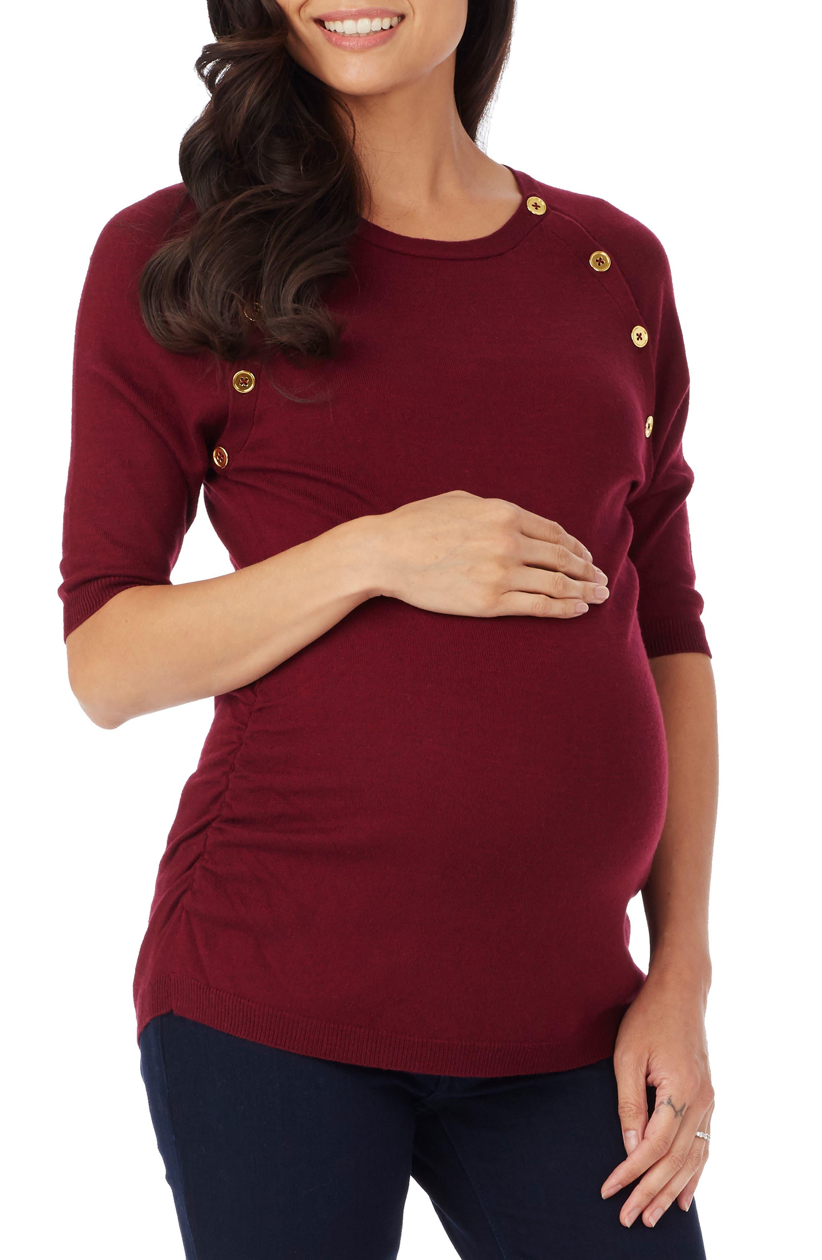 'Hepburn' Maternity Sweater,                         Main,                         color, Burgundy