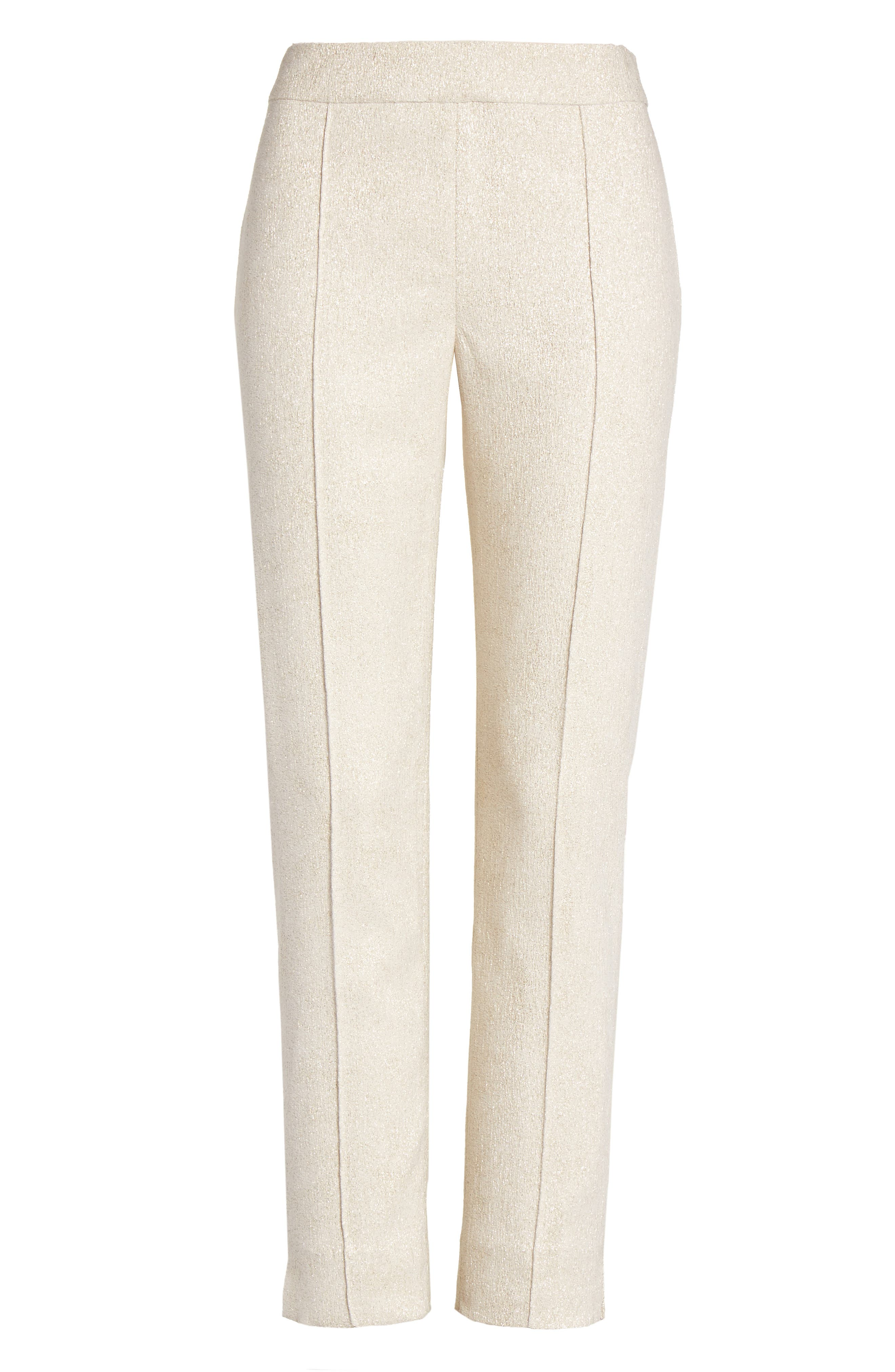 Metallic Jacquard Crop Pants,                             Alternate thumbnail 7, color,                             Bianco/ Gold