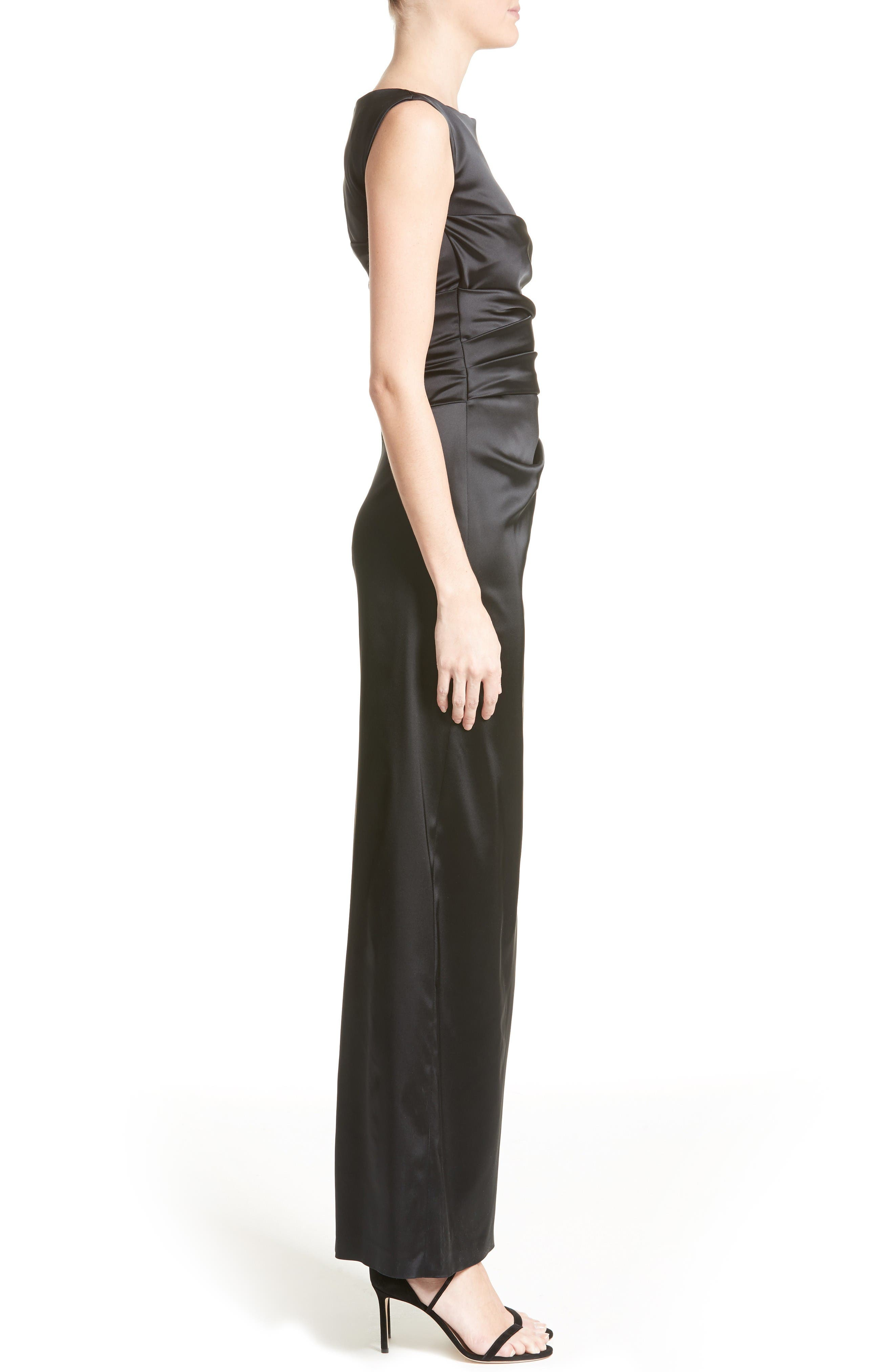 Stretch Satin Column Gown,                             Alternate thumbnail 4, color,                             Black