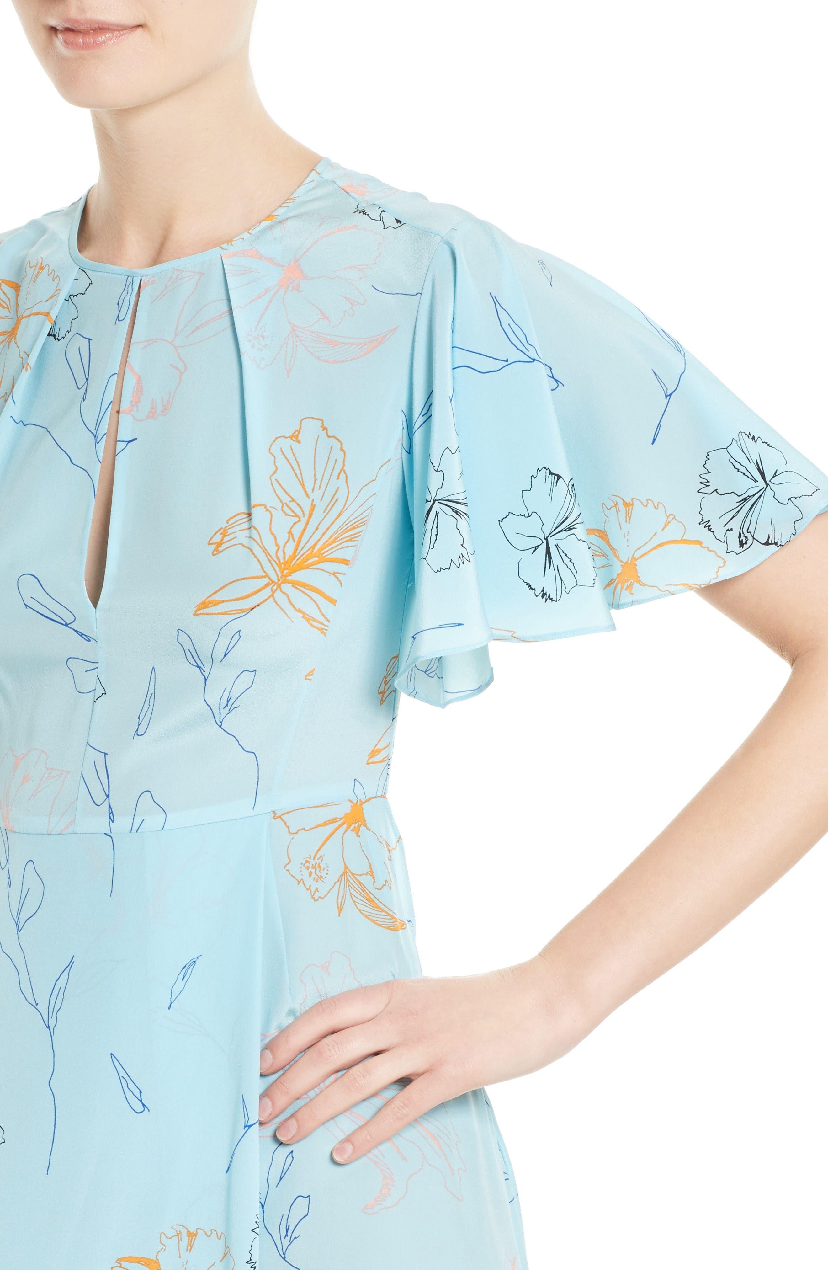 Flutter Sleeve Print Silk Maxi Dress,                             Alternate thumbnail 4, color,                             Fenelon Bright Ice