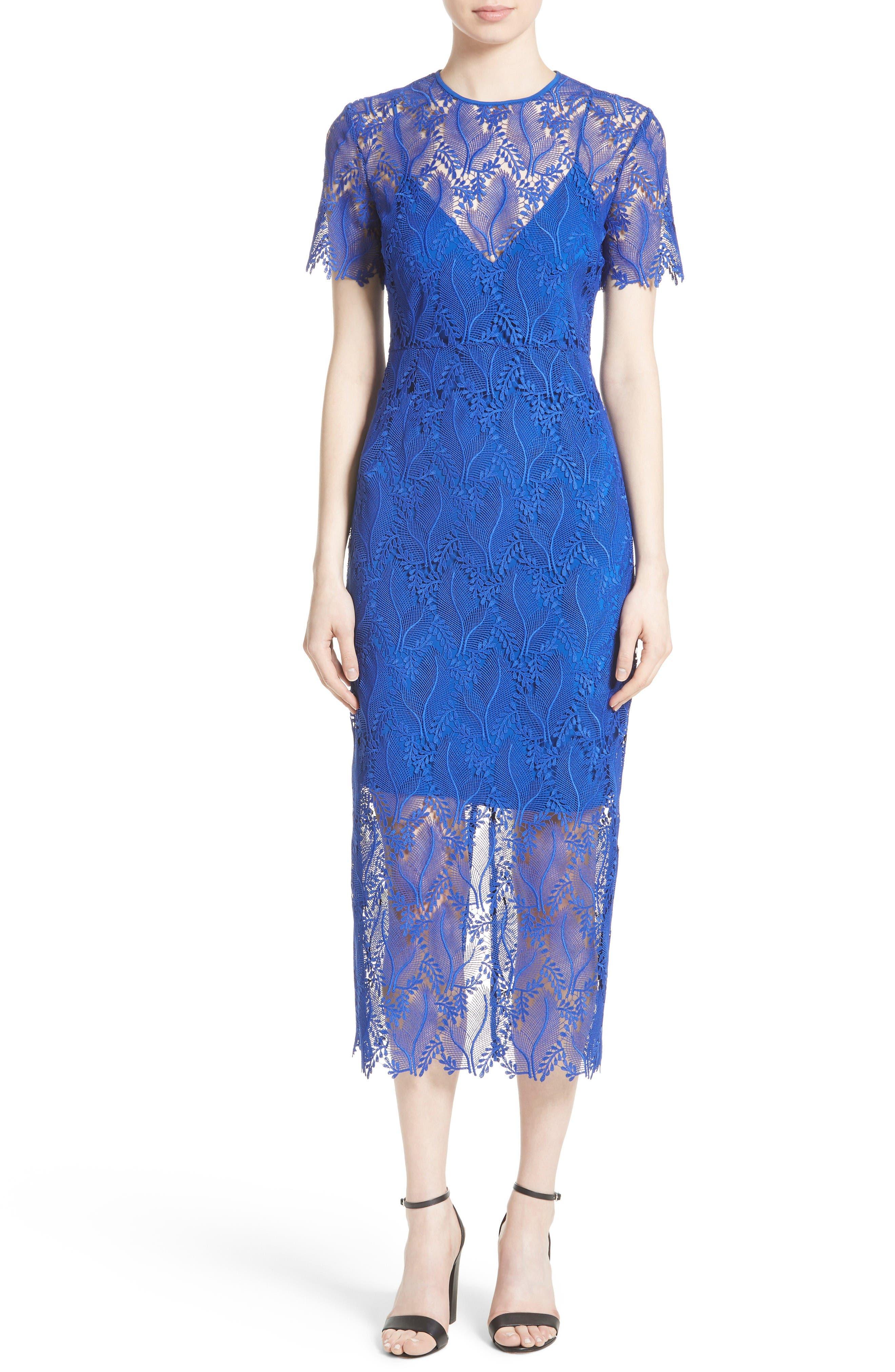 Lace Midi Sheath Dress,                             Main thumbnail 1, color,                             Klein Blue