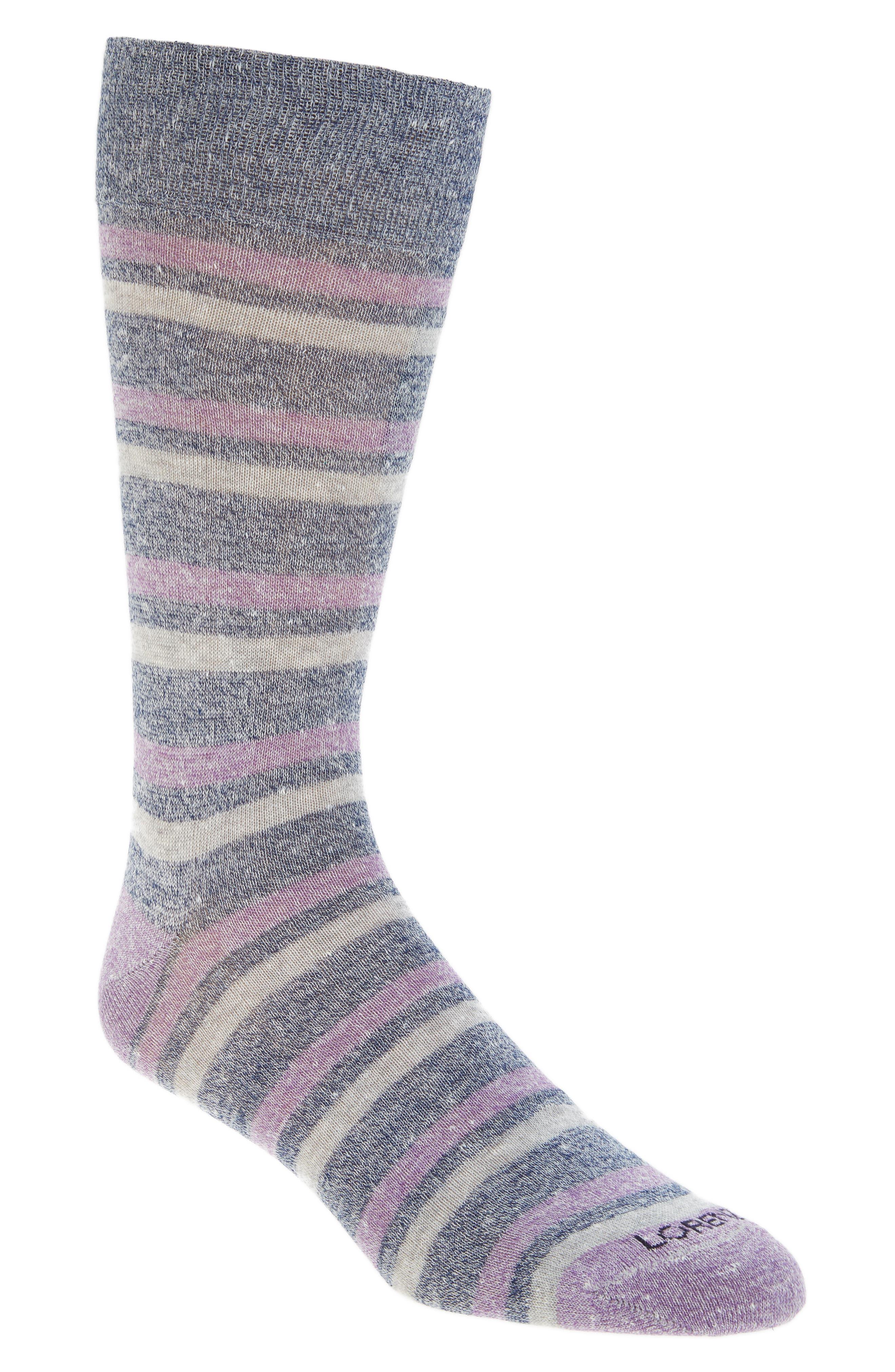 Stripe Crew Socks,                             Main thumbnail 1, color,                             Denim