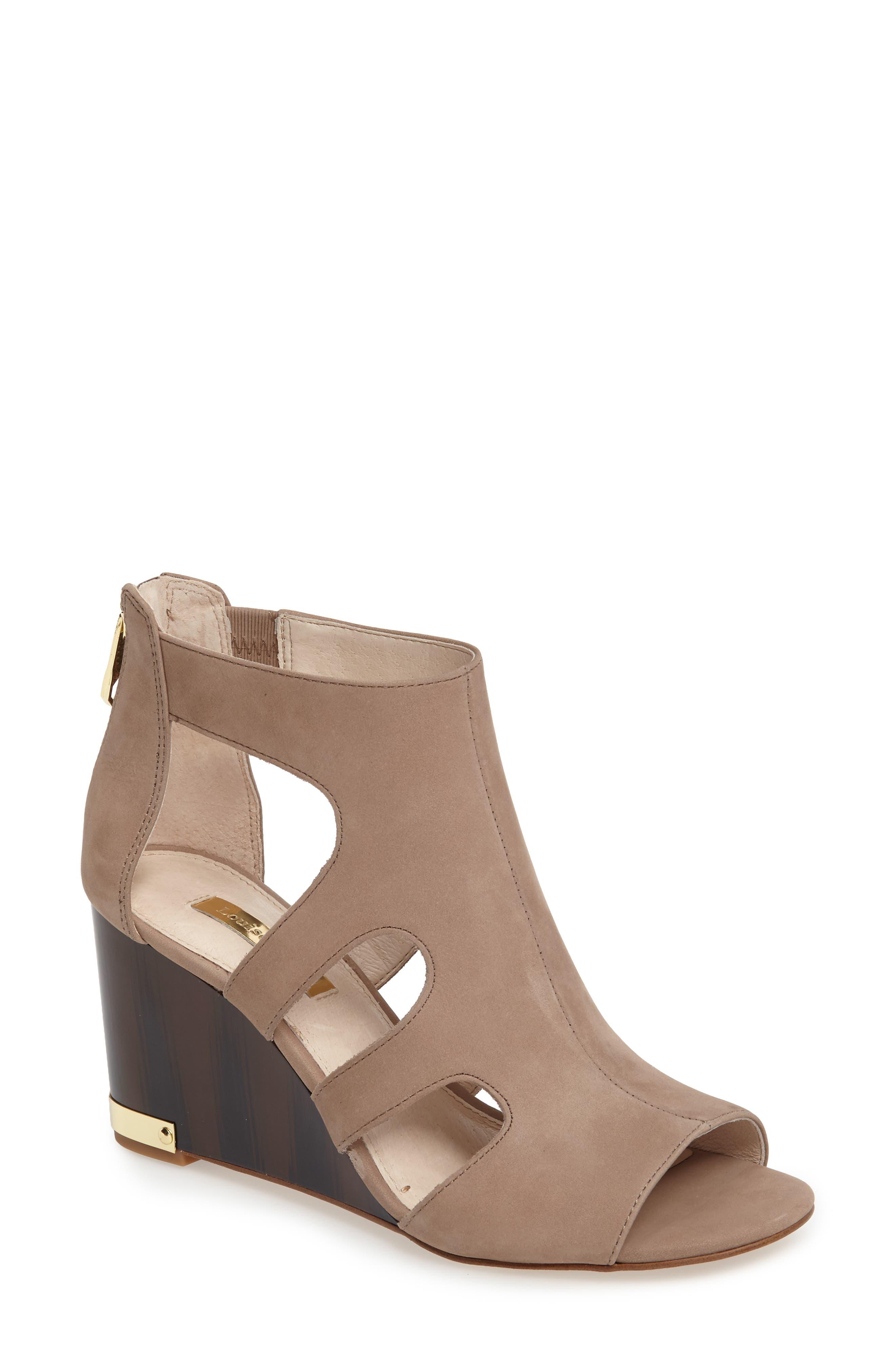 Mirin Wedge Sandal,                         Main,                         color, Neutral Nubuck