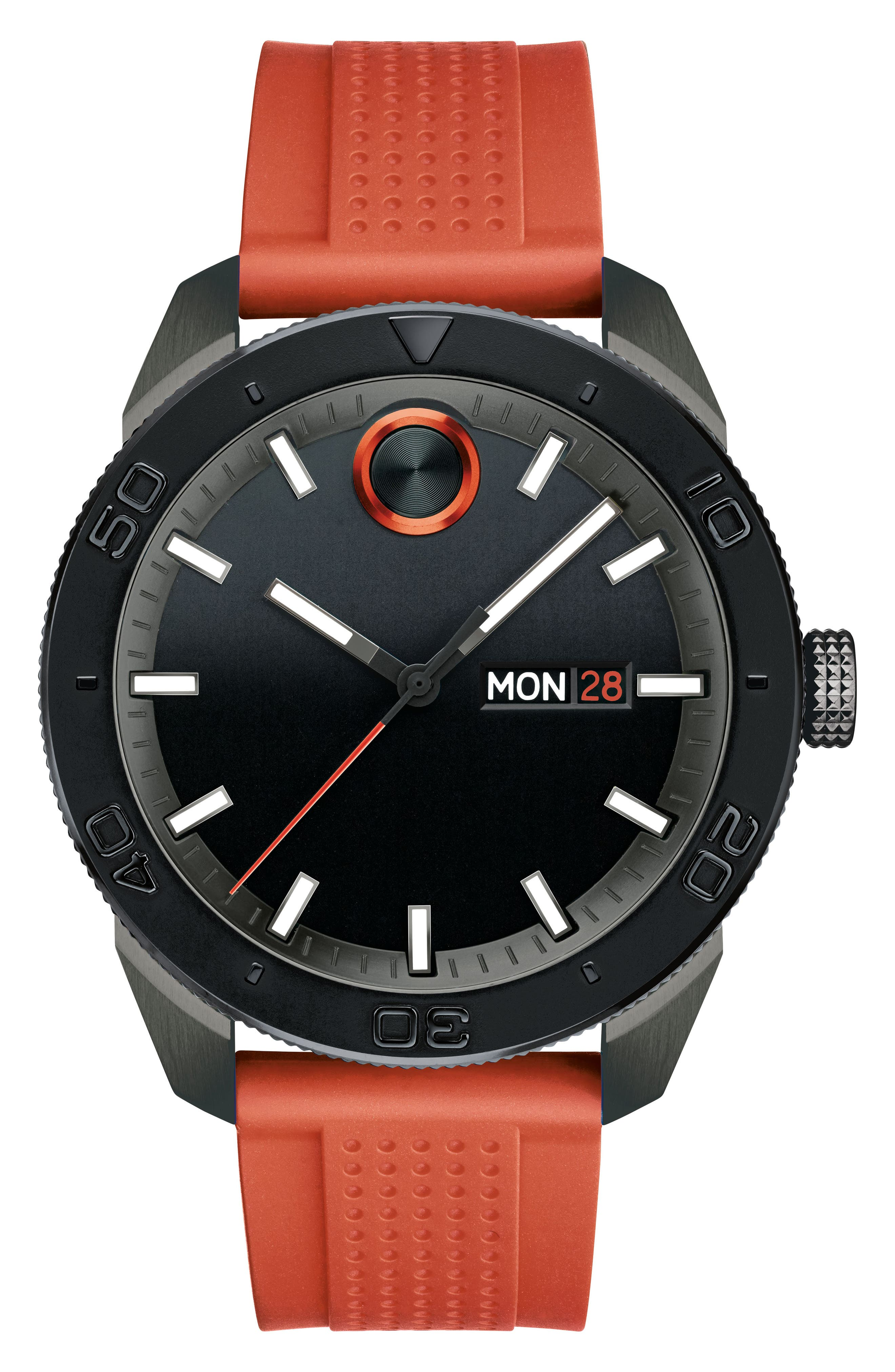Bold Sport Silicone Strap Watch, 43mm,                             Main thumbnail 1, color,                             Orange/ Black
