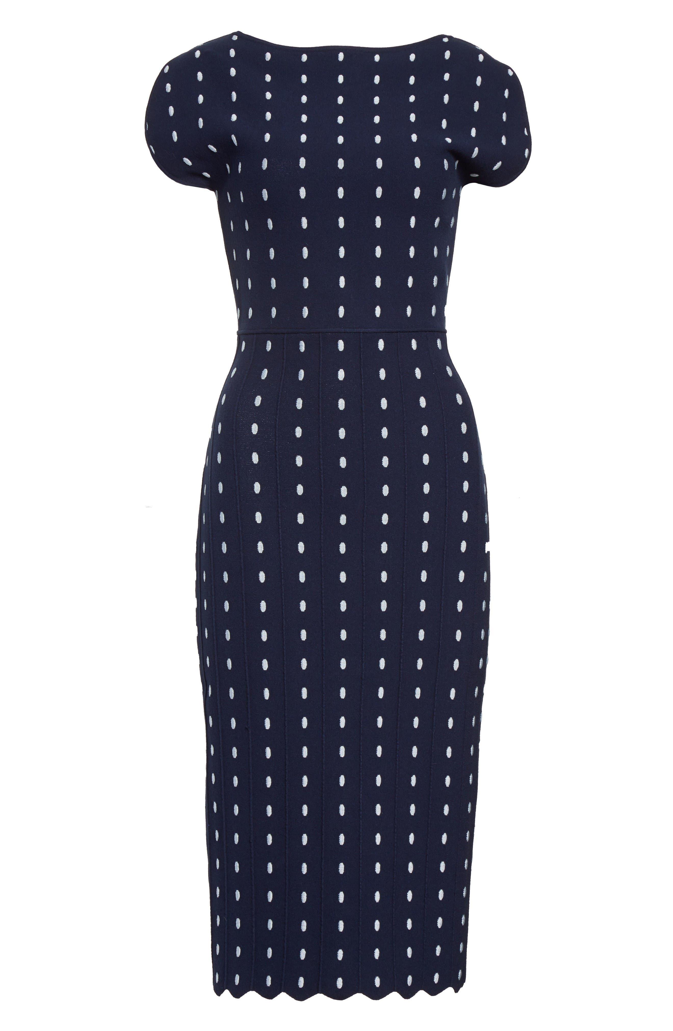 Dot Knit Sheath Dress,                             Alternate thumbnail 4, color,                             Navy/ Ice Blue