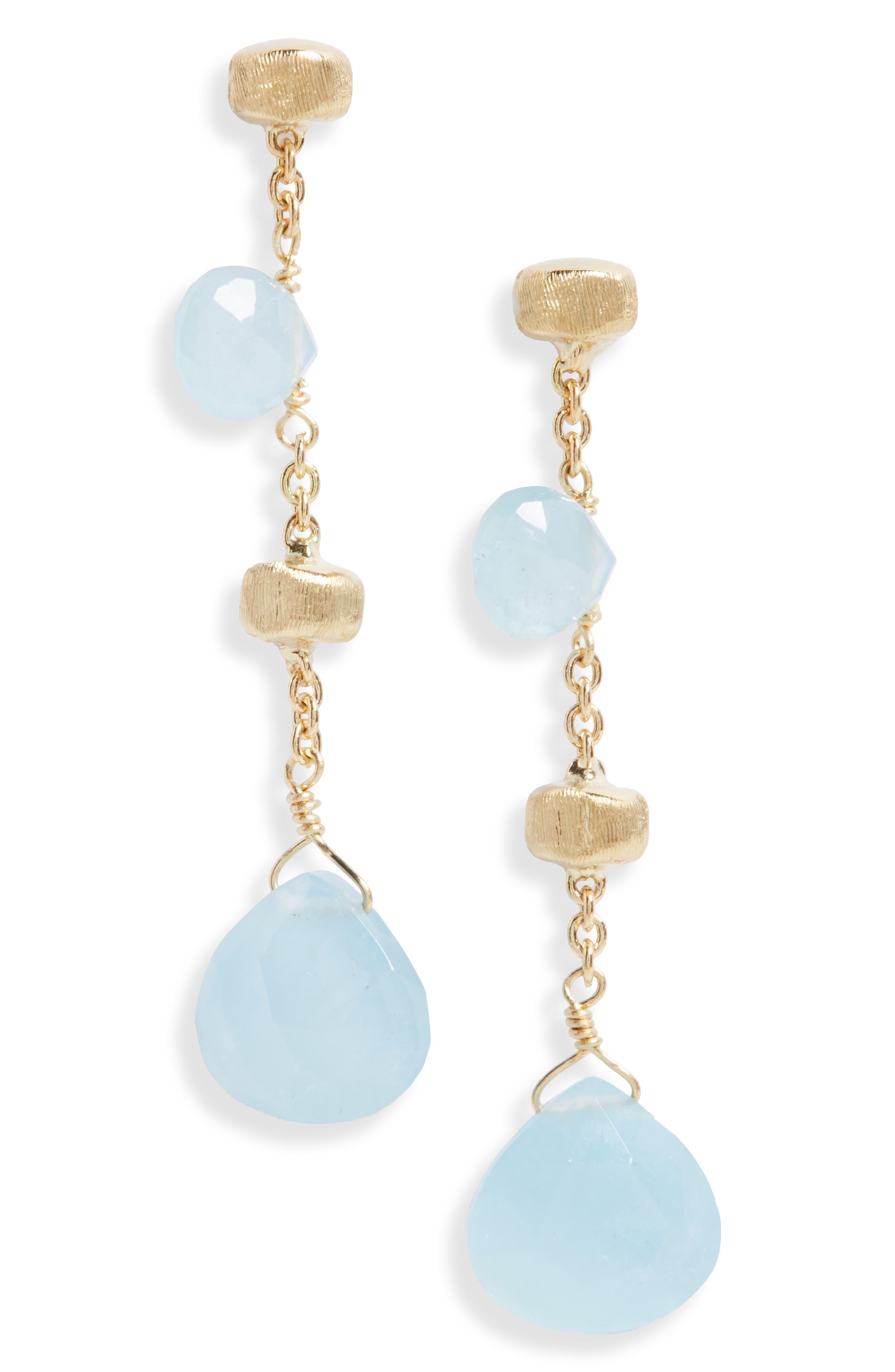Paradise Semiprecious Stone Linear Drop Earrings,                         Main,                         color, Yellow Gold/ Aquamarine