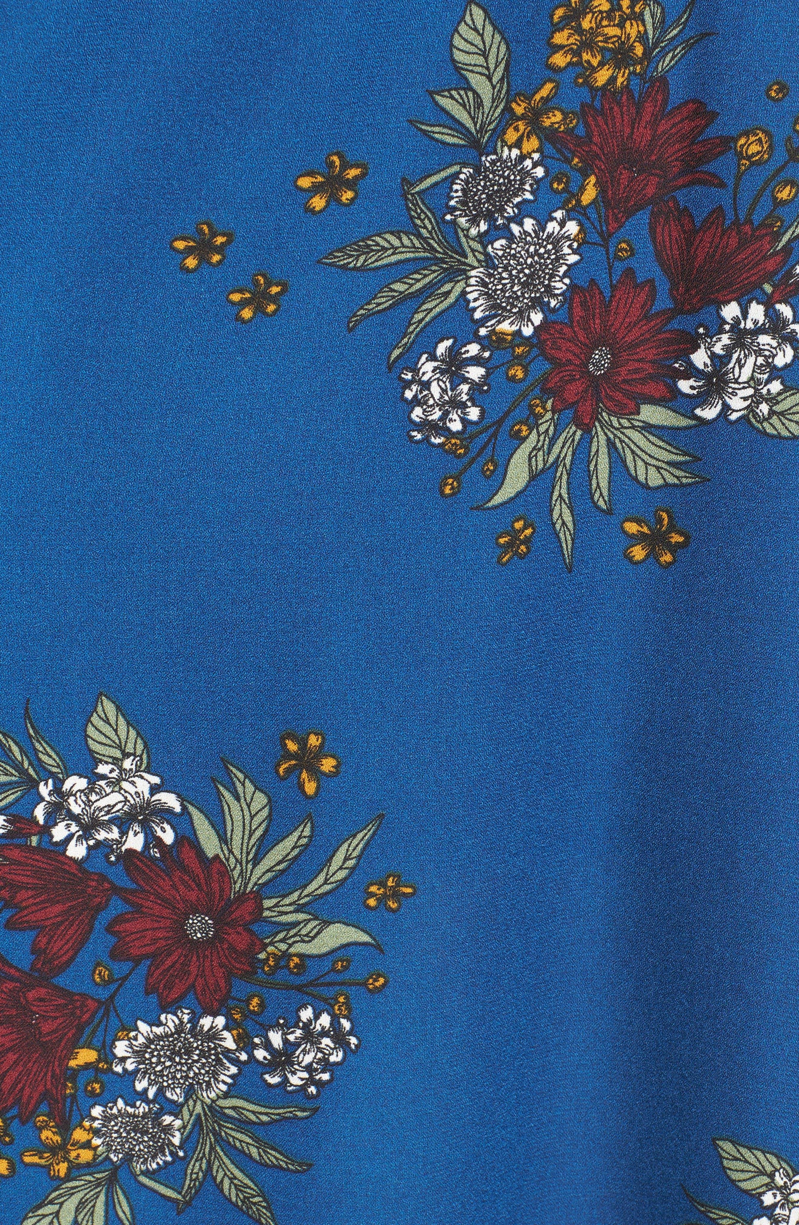 Floral Maxi Skort,                             Alternate thumbnail 5, color,                             Denim/ Berry