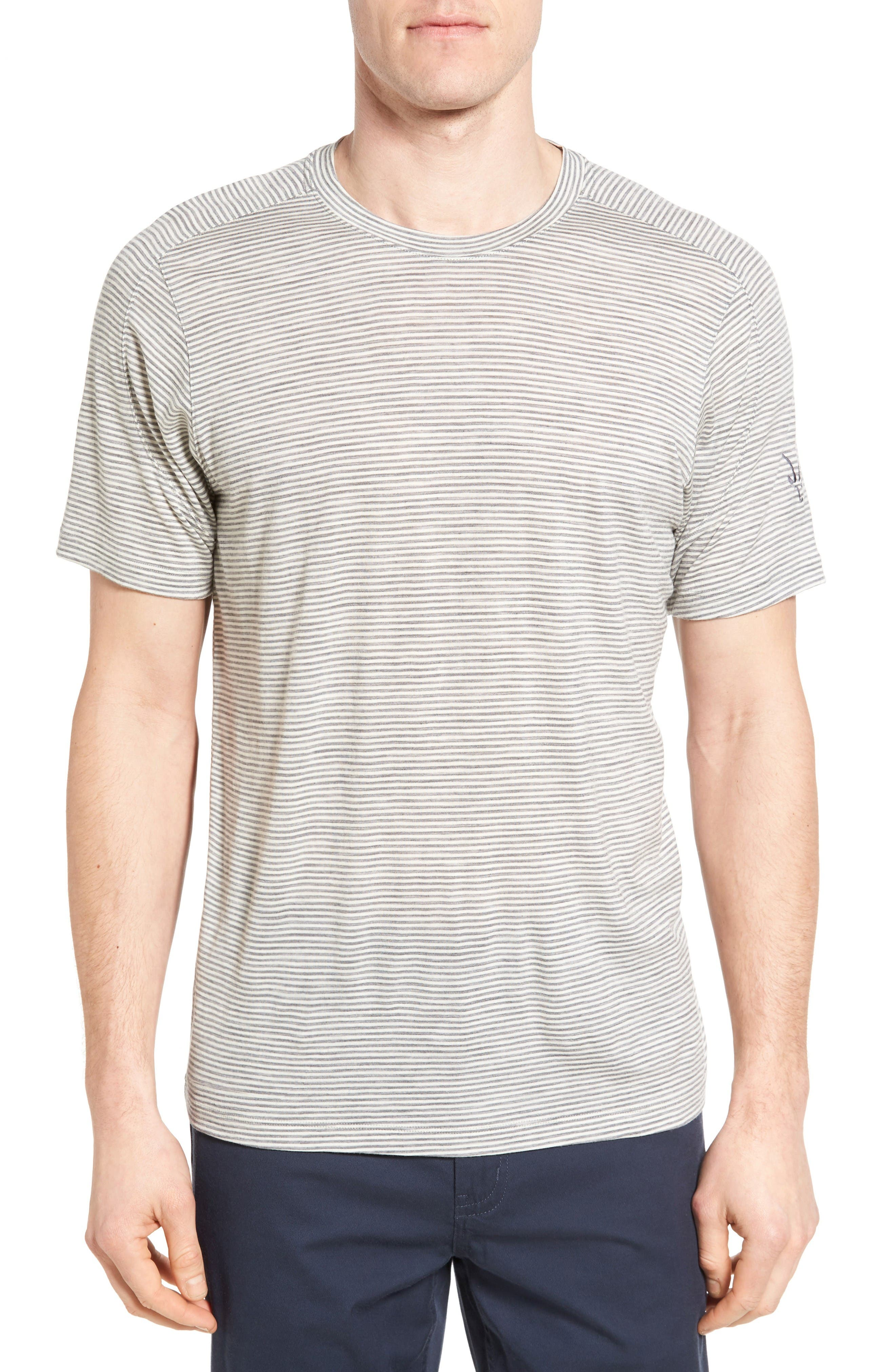 Regular Fit Overdyed Merino Wool T-Shirt,                         Main,                         color, Birch Heather Stripe
