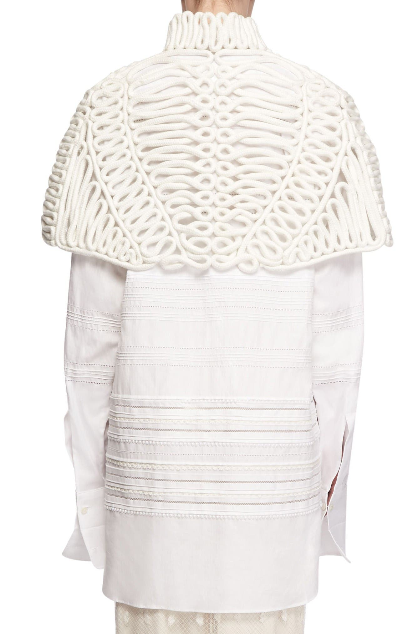 Hand Looped Rope Cape,                             Alternate thumbnail 2, color,                             White