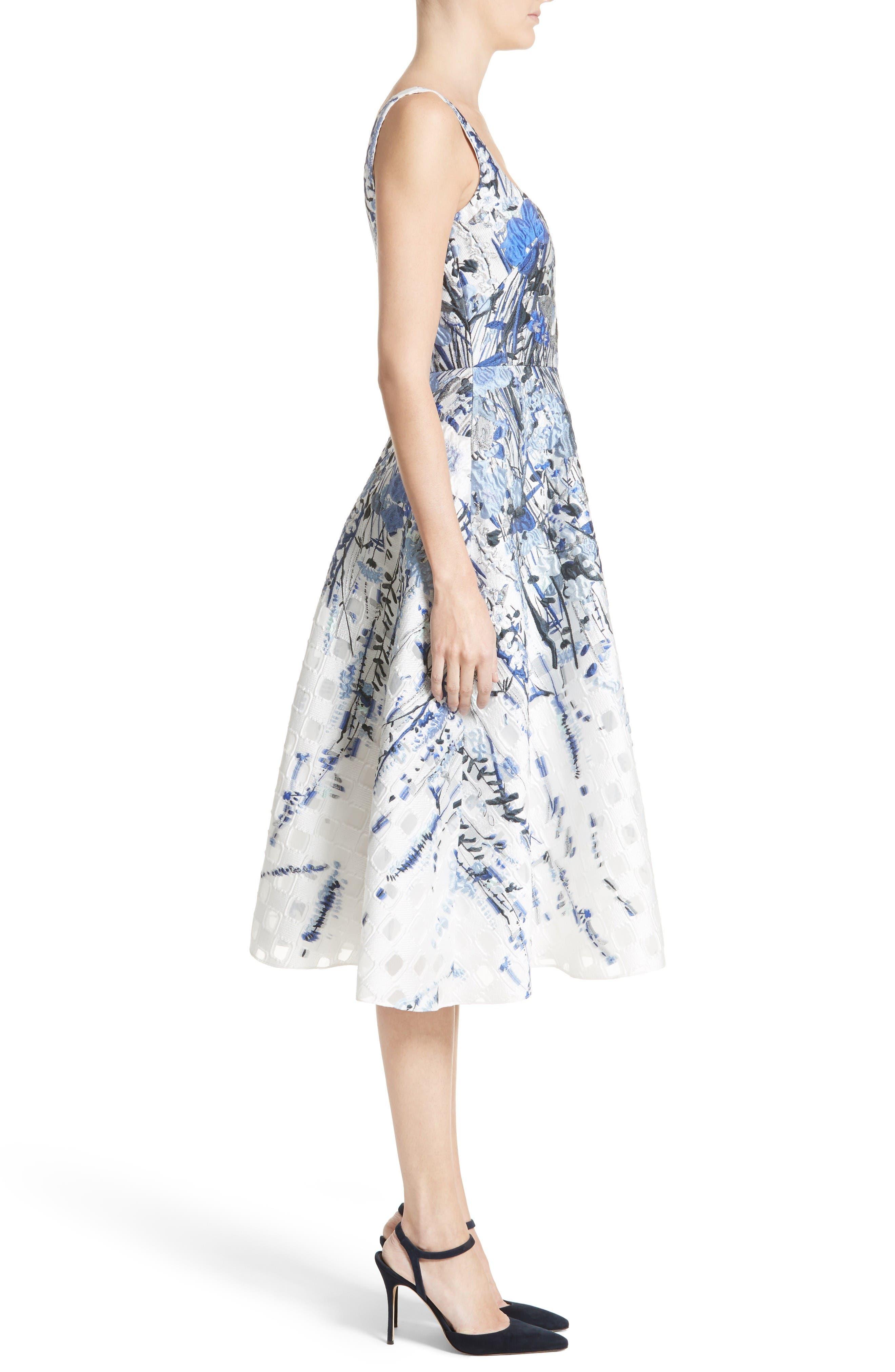 Alternate Image 5  - Lela Rose Wildflower Fil Coupé Dress