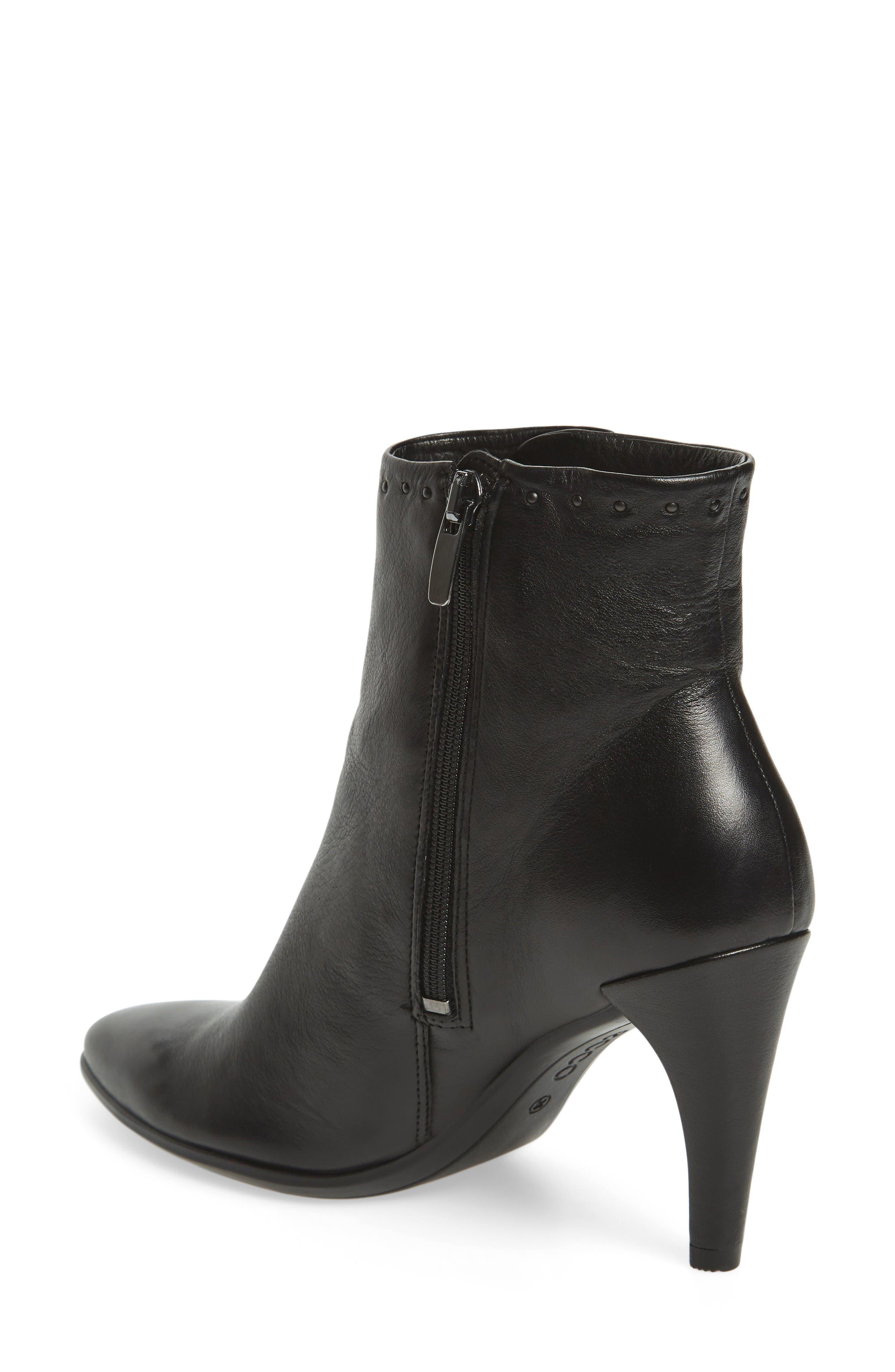 Shape 75 Rivet Ankle Boot,                             Alternate thumbnail 2, color,                             Black Leather