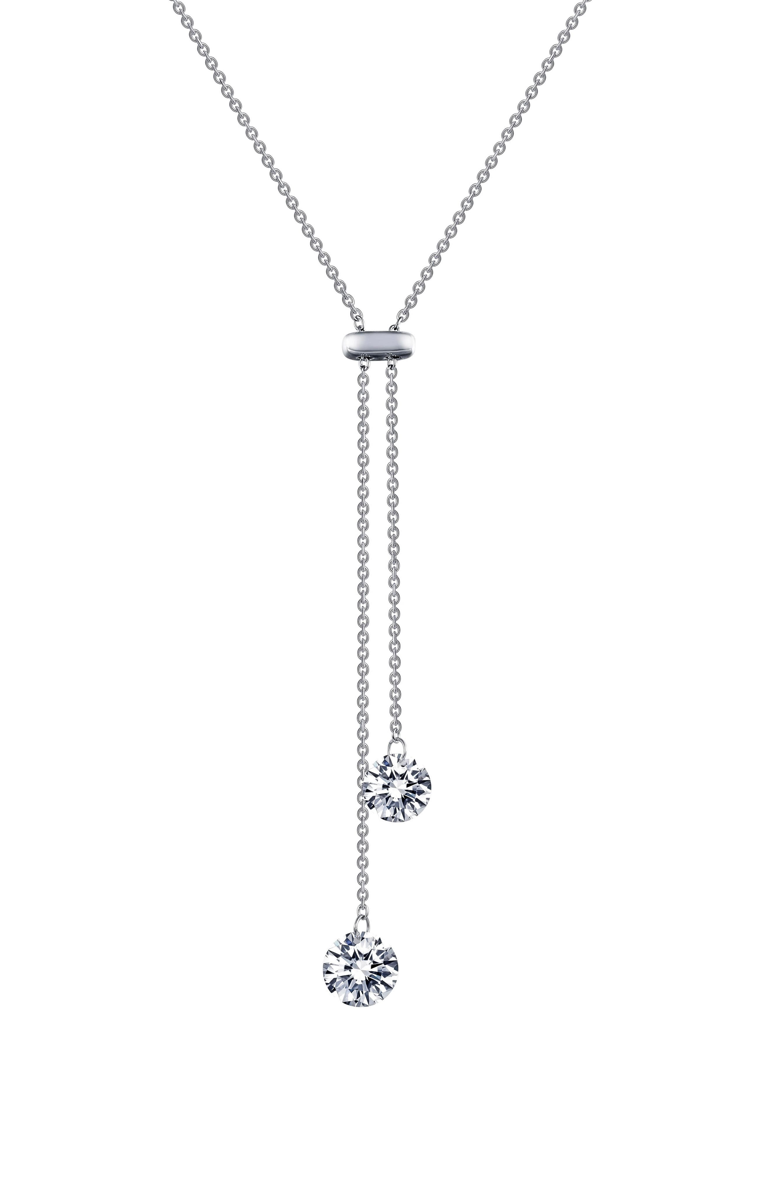Simulated Diamond Pendant Necklace,                             Main thumbnail 1, color,                             Silver