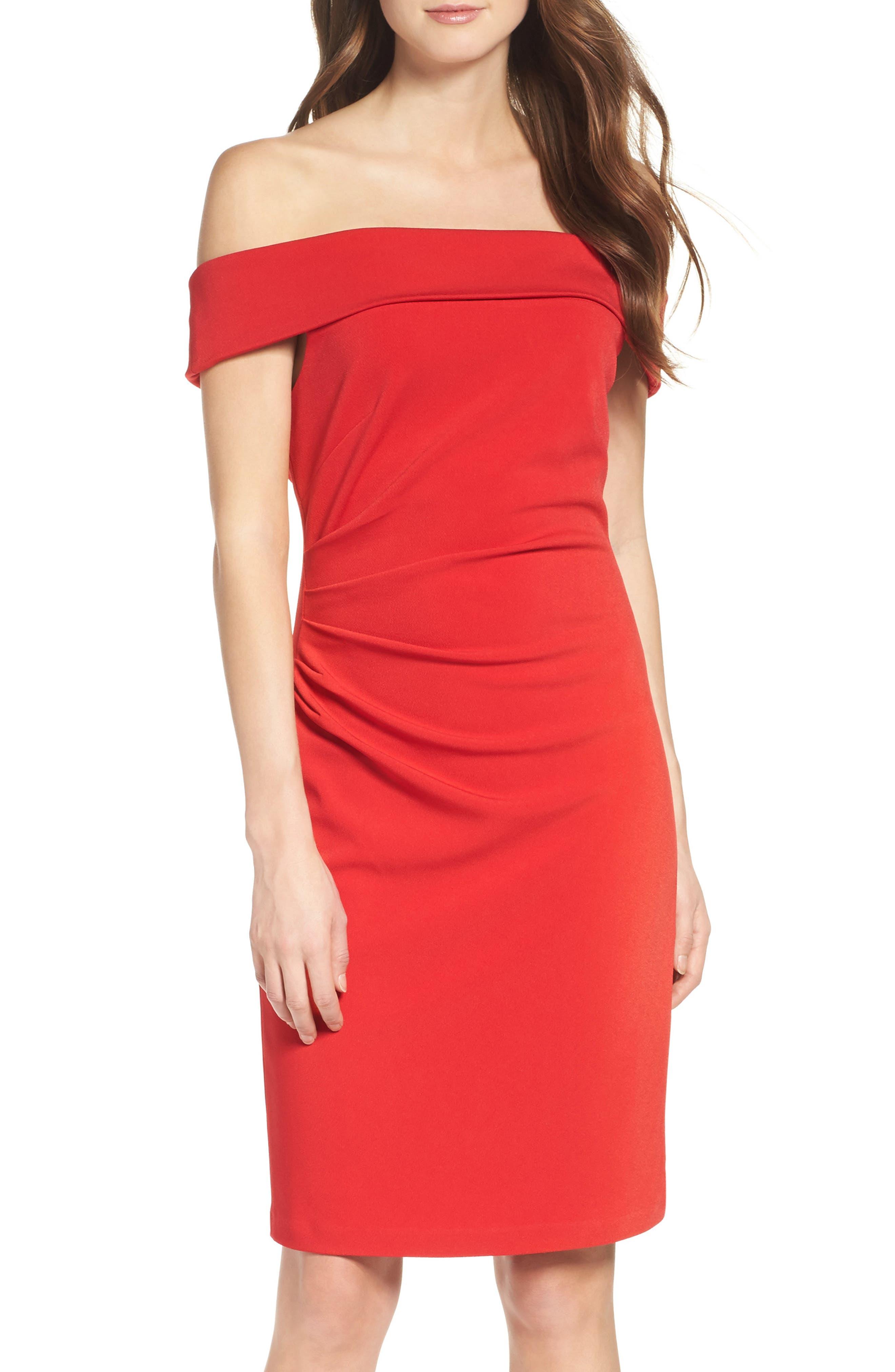 Off the Shoulder Crepe Sheath Dress,                             Main thumbnail 1, color,                             Red