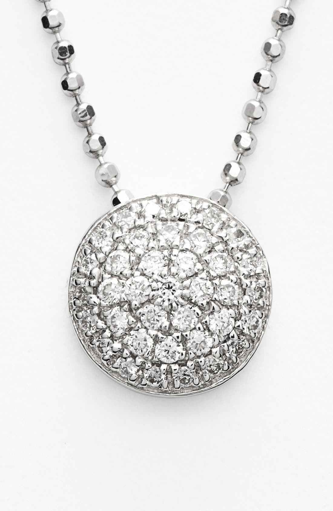 'Eclipse' Pavé Diamond Pendant Necklace,                             Alternate thumbnail 3, color,                             White Gold