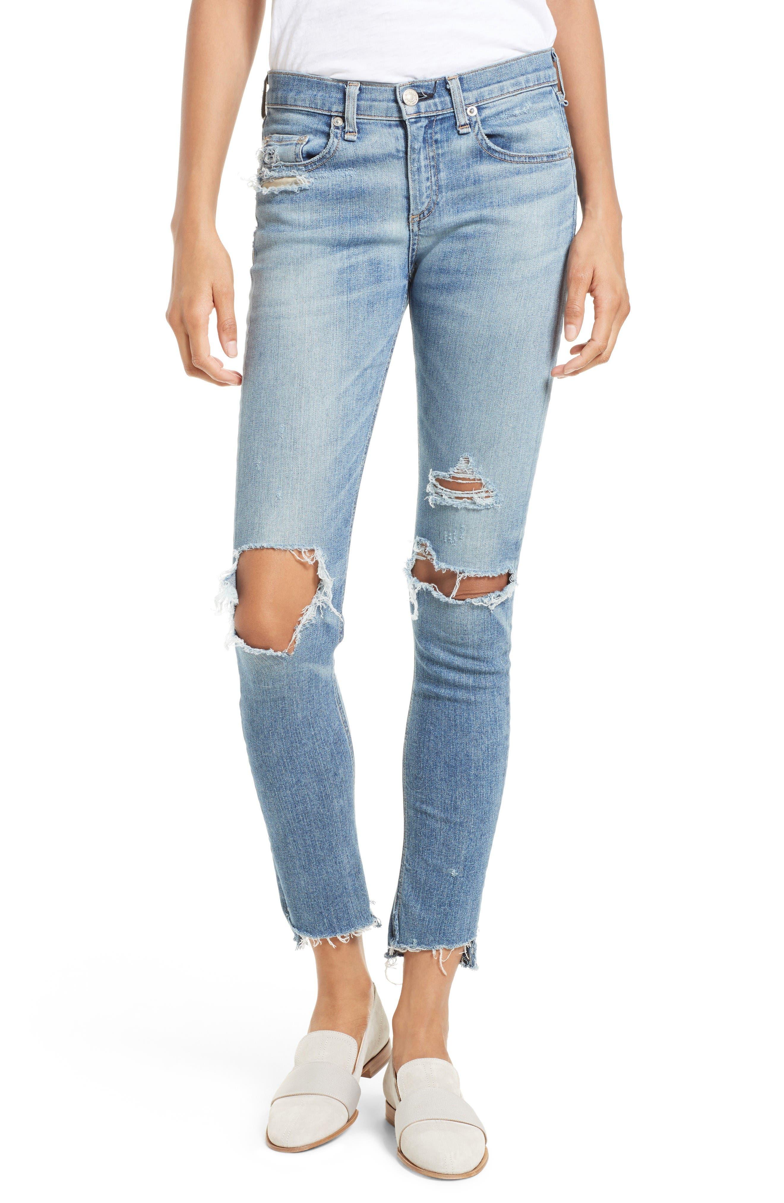 RAG & BONE/JEAN Ripped Step Hem Skinny Jeans