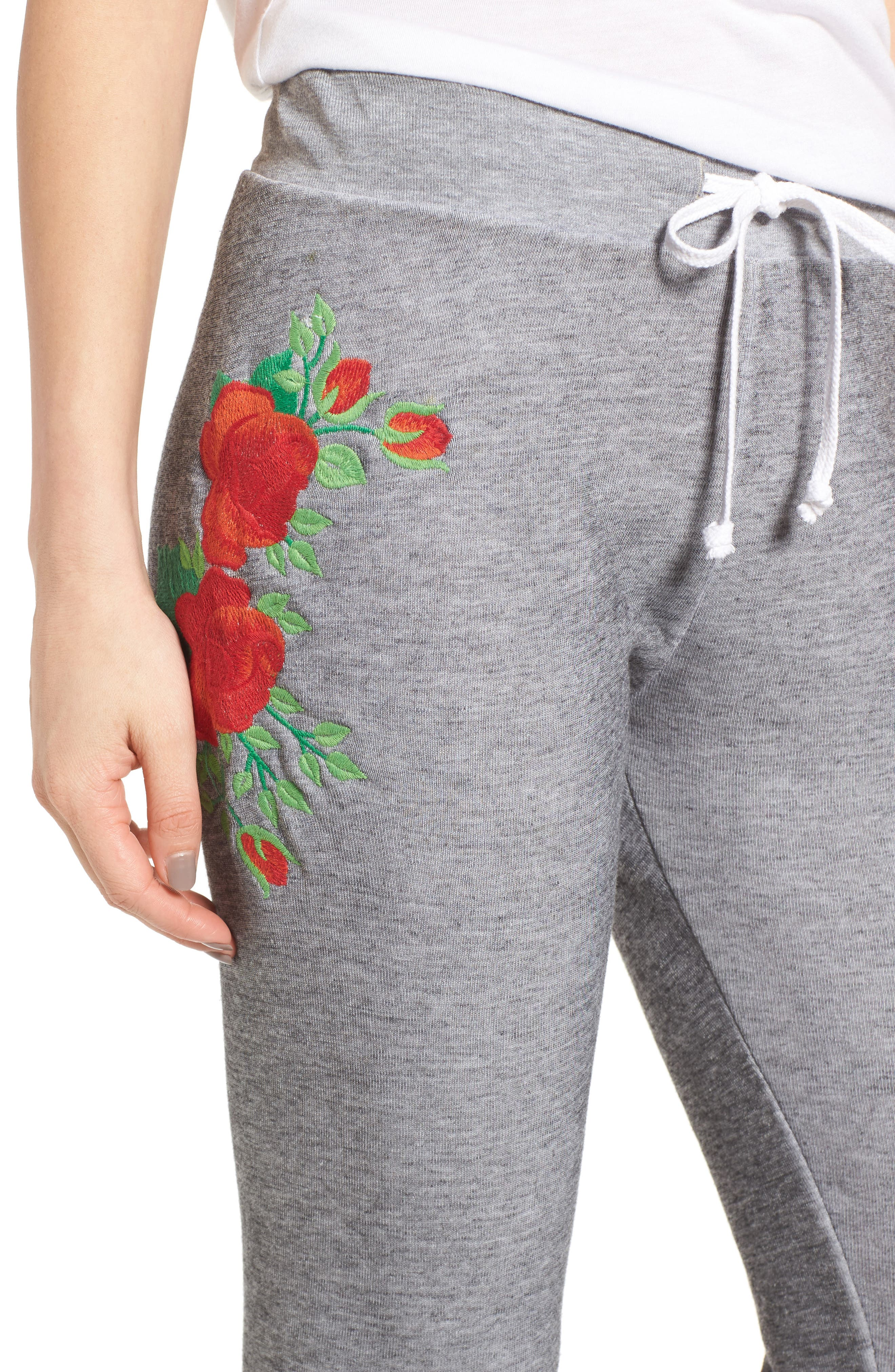 Alternate Image 4  - Wildfox Jack - Red Roses Embroidered Jogger Pants