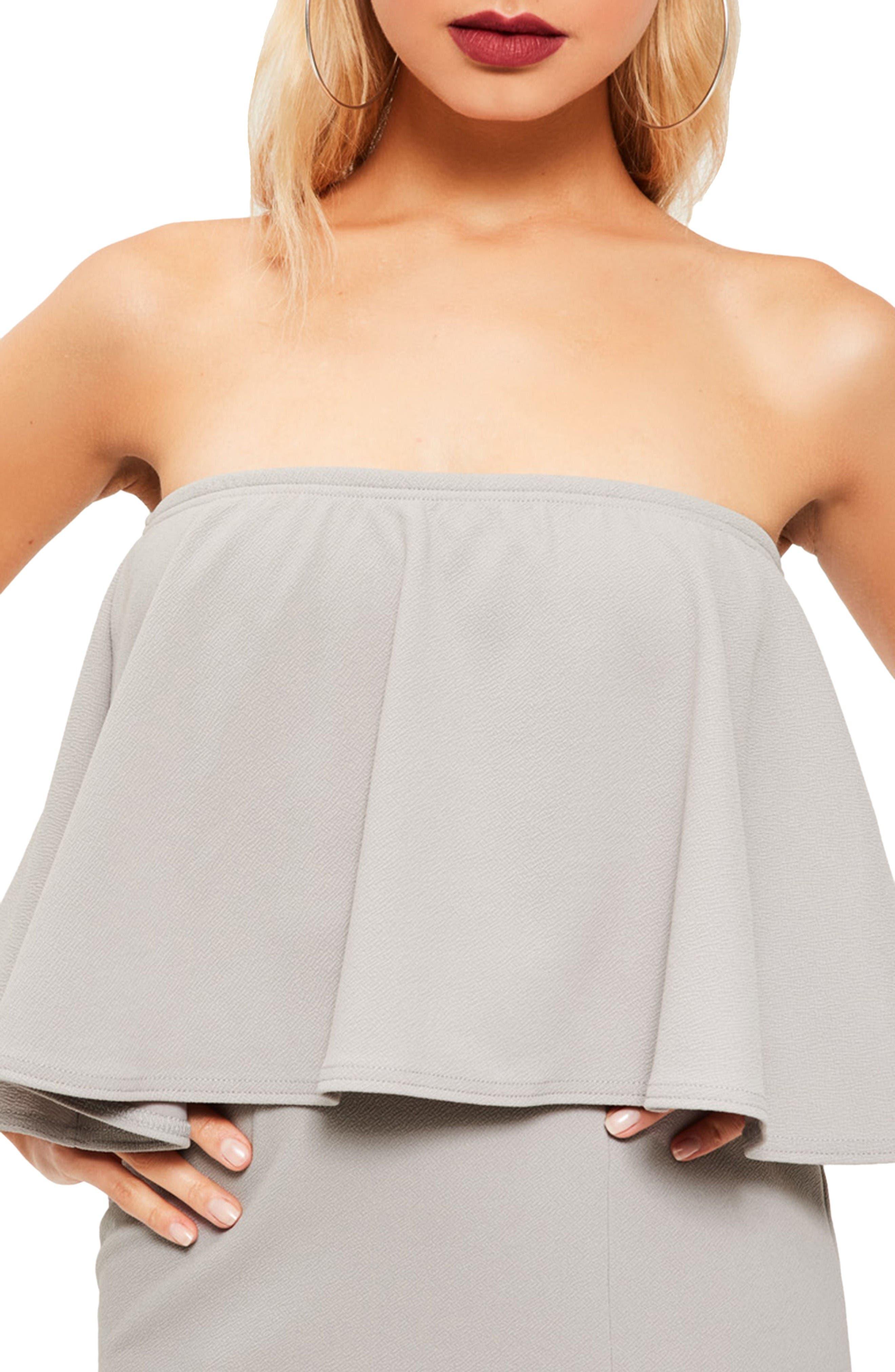 Strapless Popover Maxi Dress,                             Alternate thumbnail 4, color,                             Grey