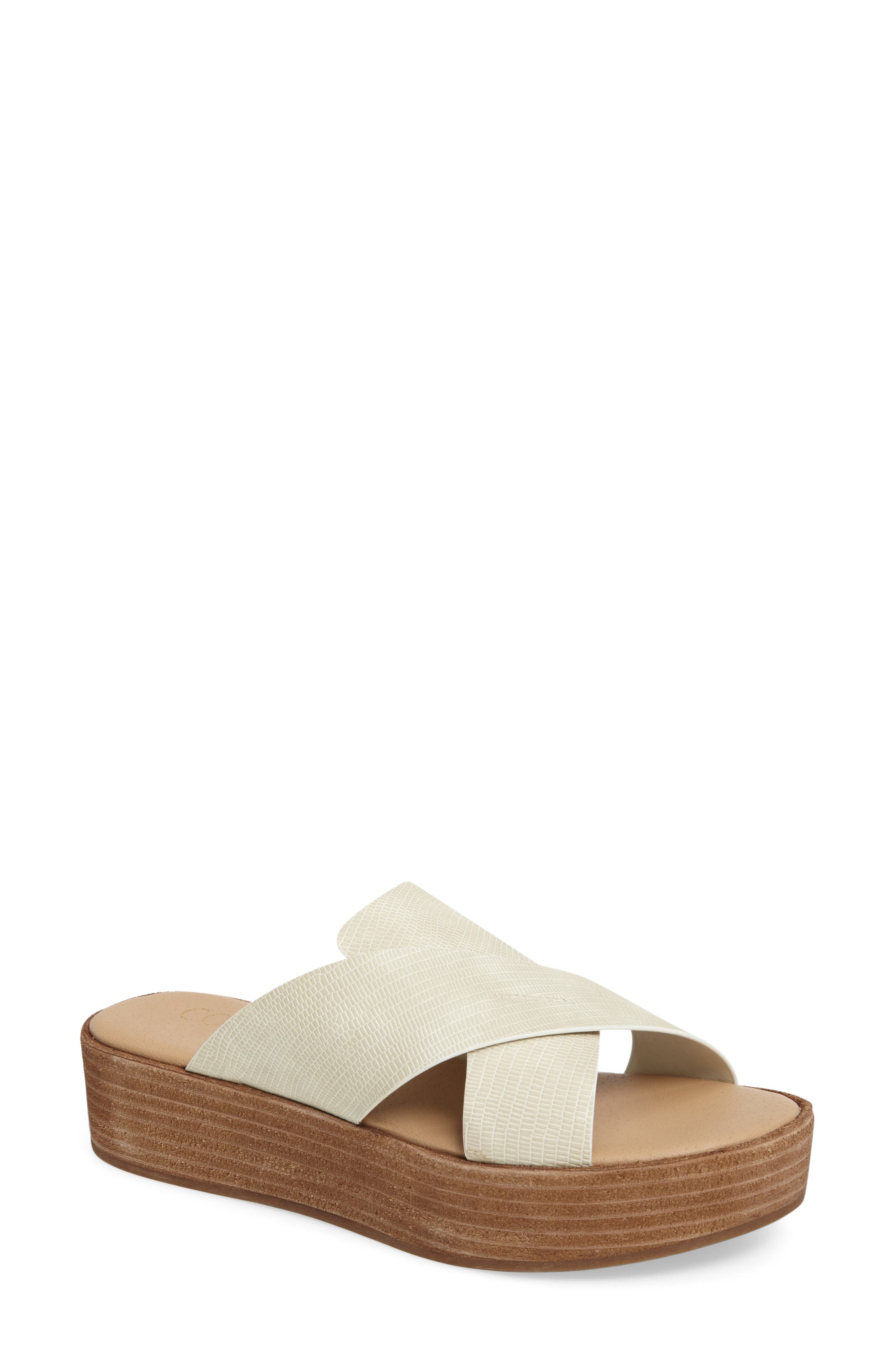 Coconuts by Matisse Masters Cross Strap Platform Sandal,                             Main thumbnail 1, color,                             White Leather