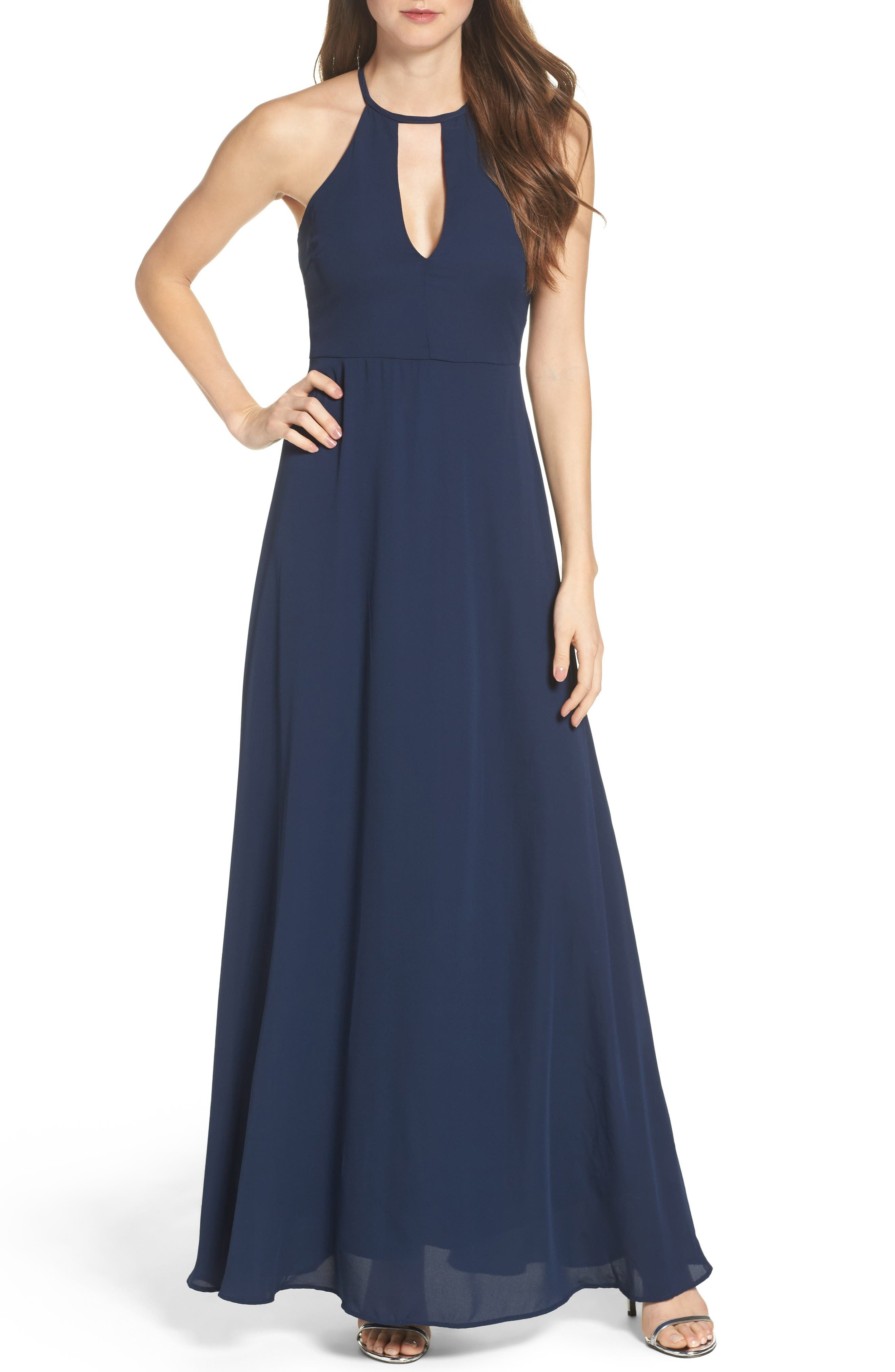 Halter A-Line Chiffon Gown,                             Main thumbnail 1, color,                             Navy