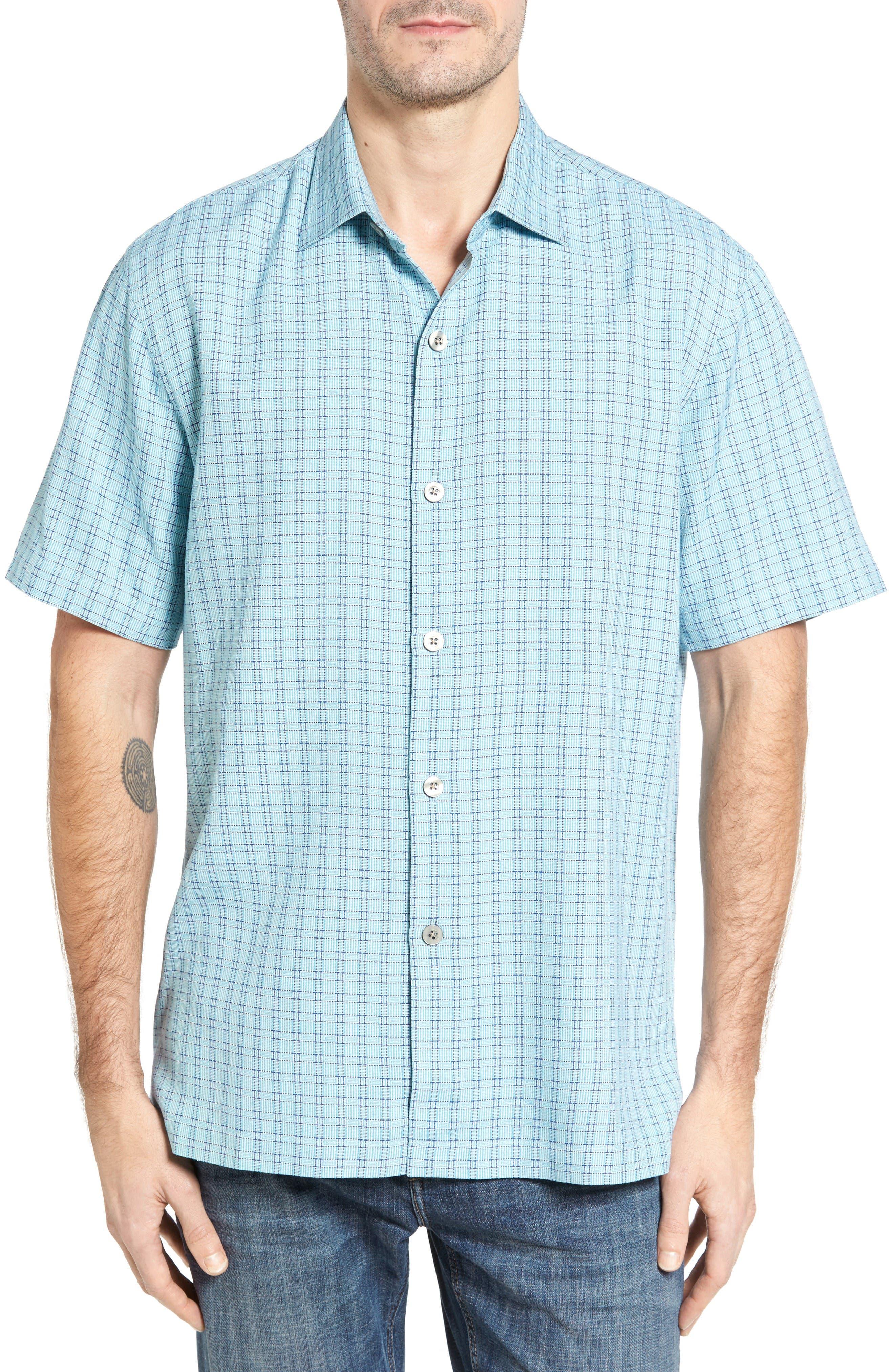 Geo Getaway Standard Fit Print Silk Camp Shirt,                             Main thumbnail 1, color,                             Clear Ocean