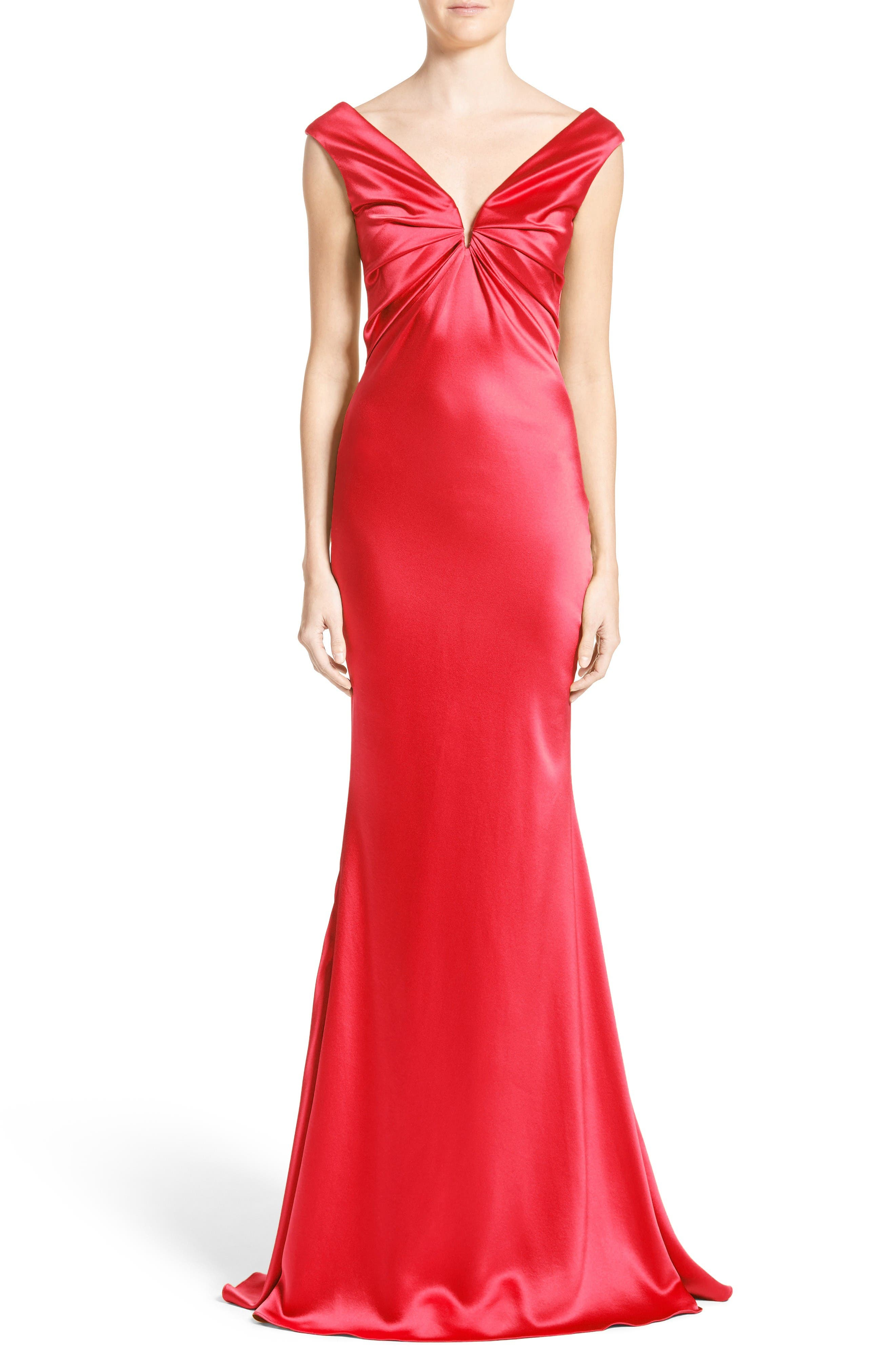 Silk Satin Gown,                         Main,                         color, Red