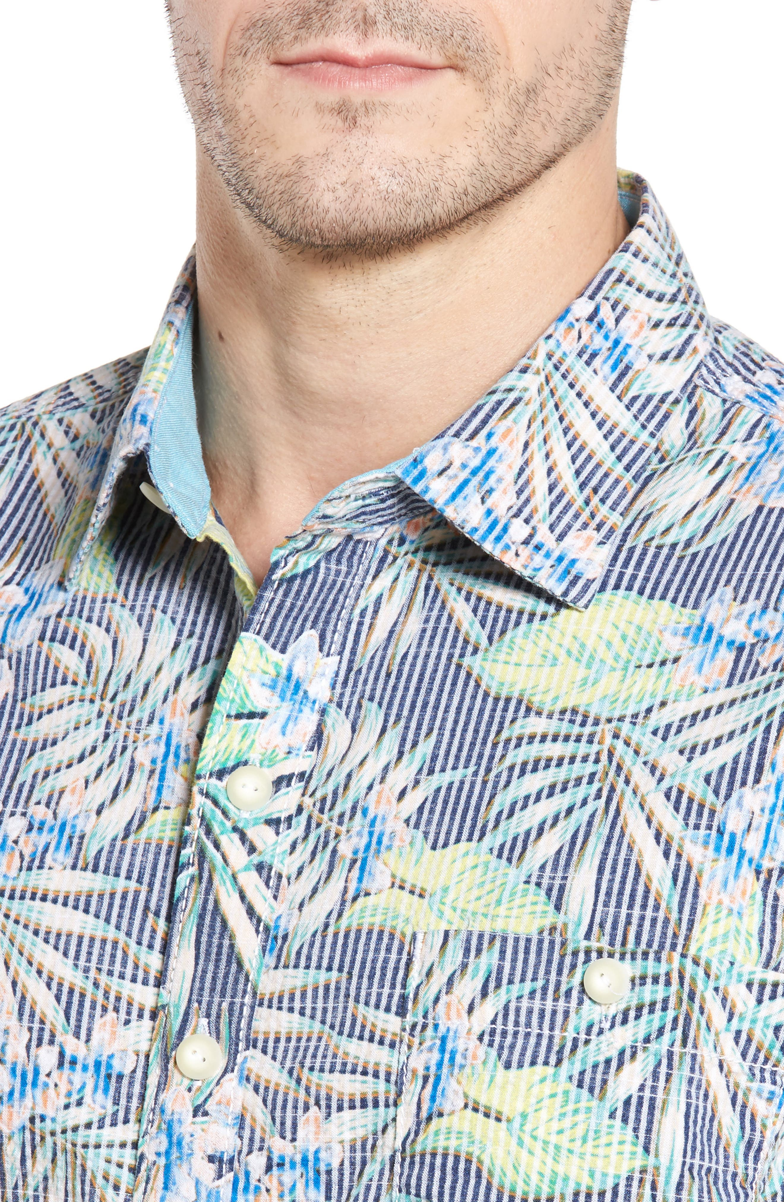 Between Two Fronds Standard Fit Print Sport Shirt,                             Alternate thumbnail 4, color,                             Bering Blue