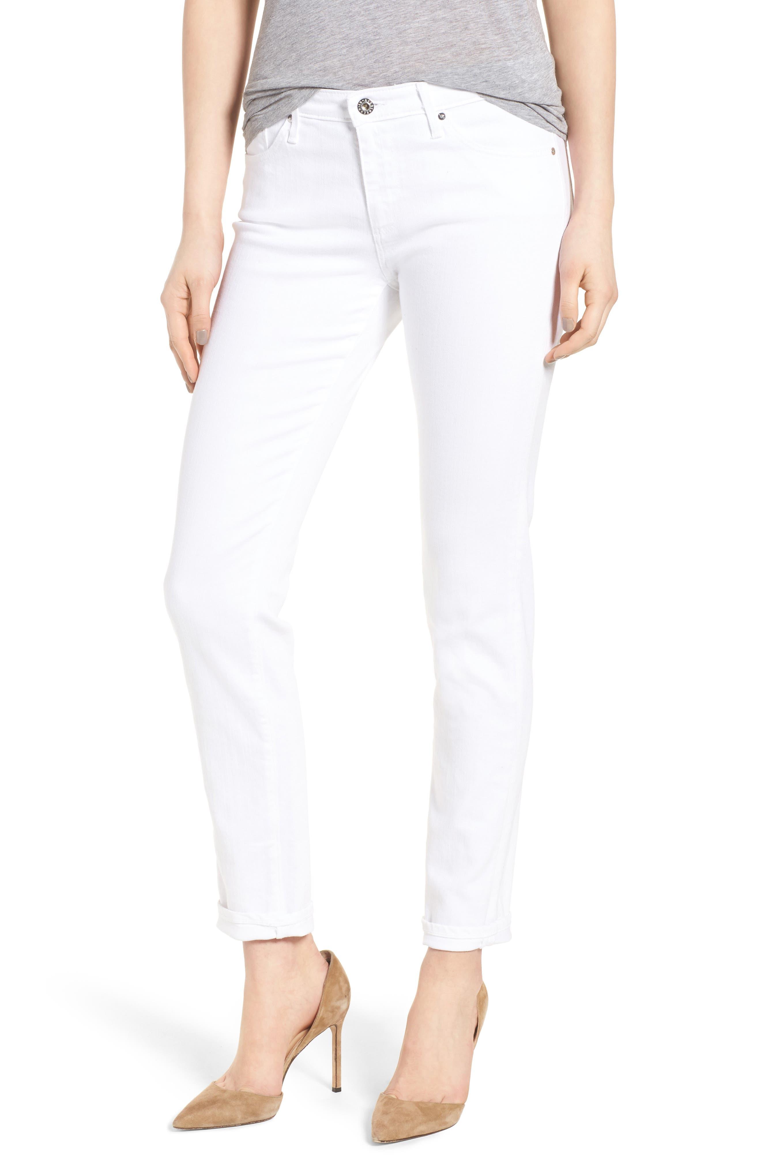 Prima Cigarette Leg Skinny Jeans,                             Main thumbnail 1, color,                             White