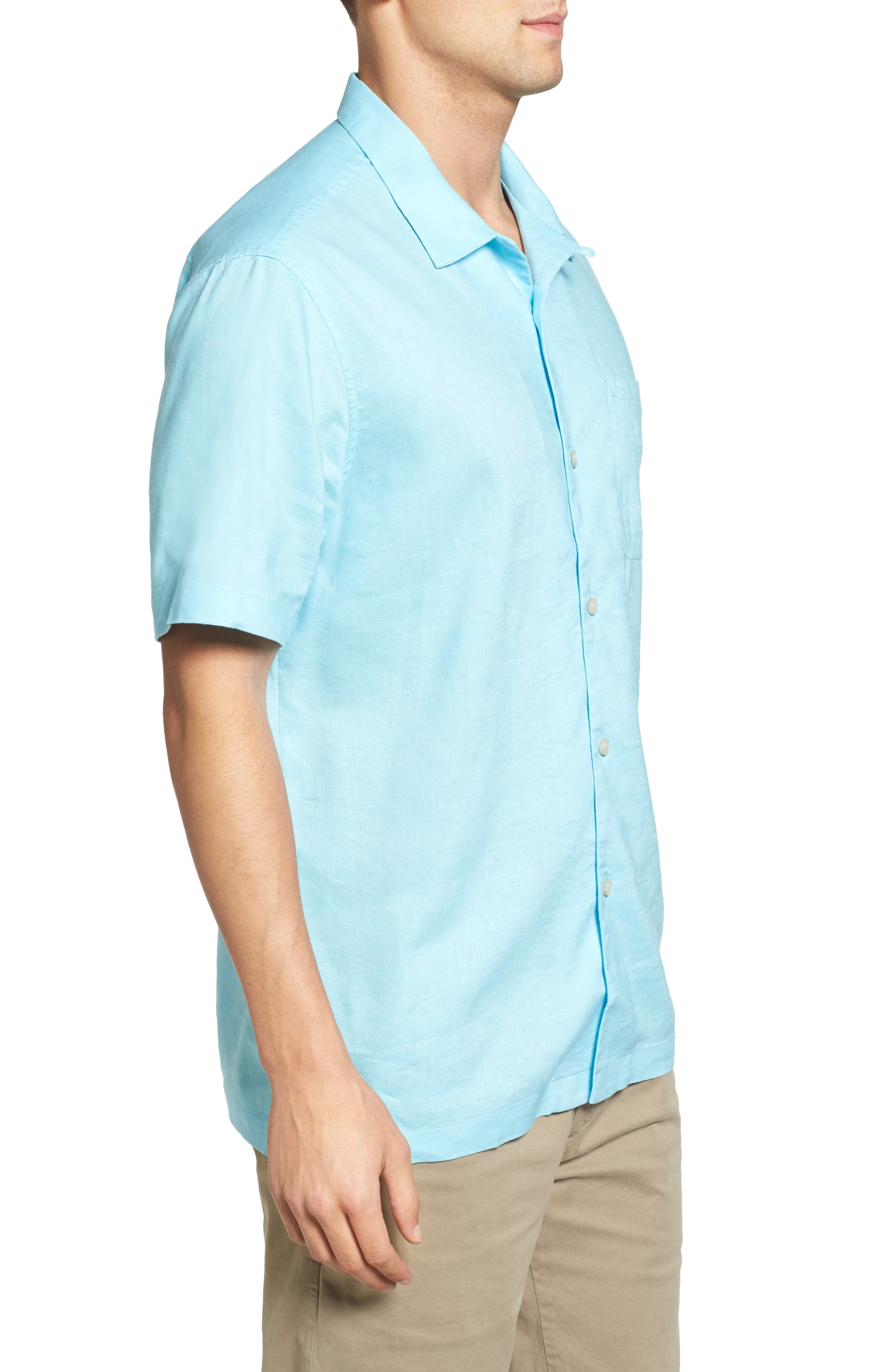 Monaco Tides Standard Fit Linen Blend Camp Shirt,                             Alternate thumbnail 3, color,                             Graceful Sea