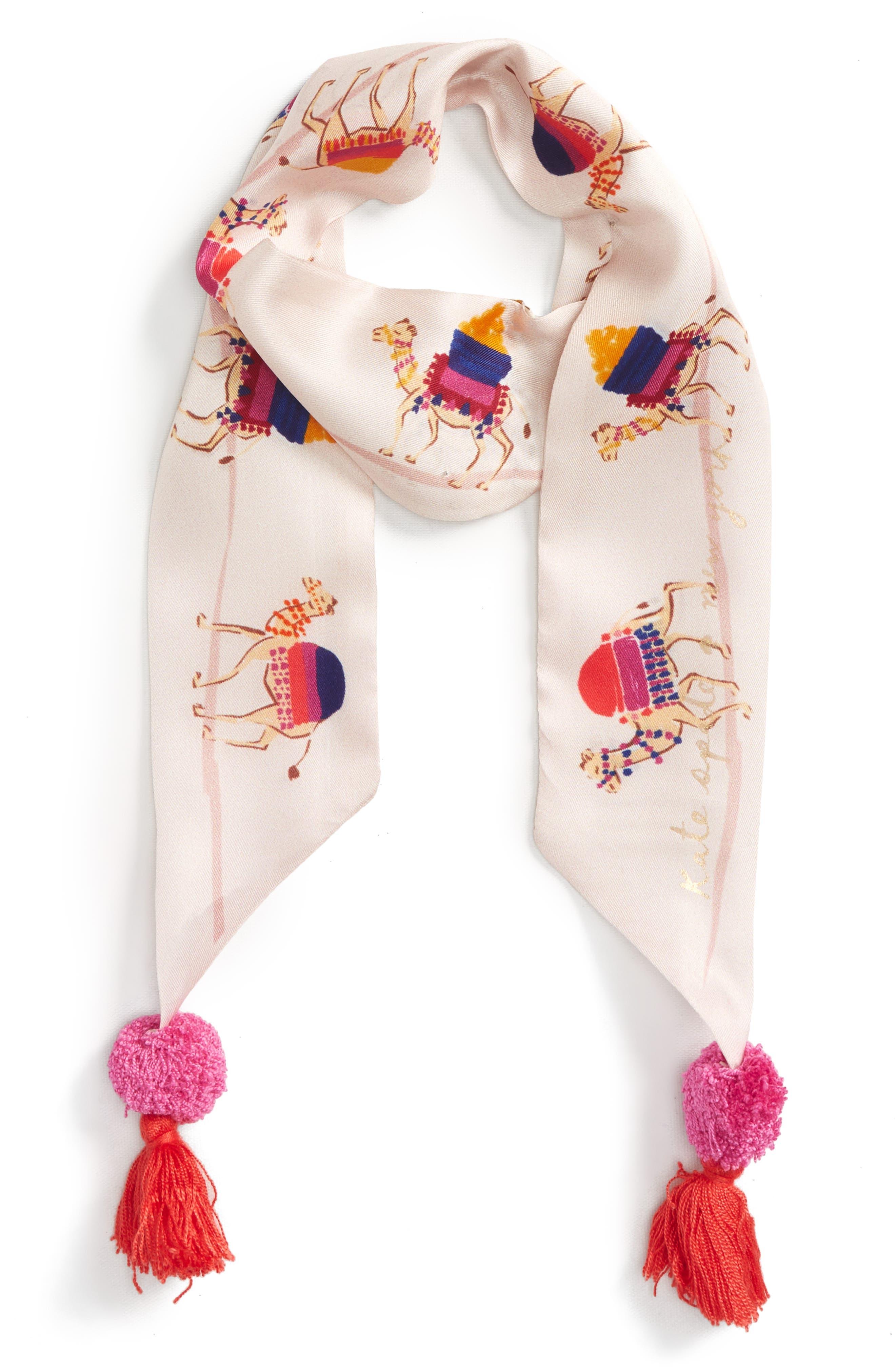 Alternate Image 2  - kate spade new york camel march skinny silk scarf