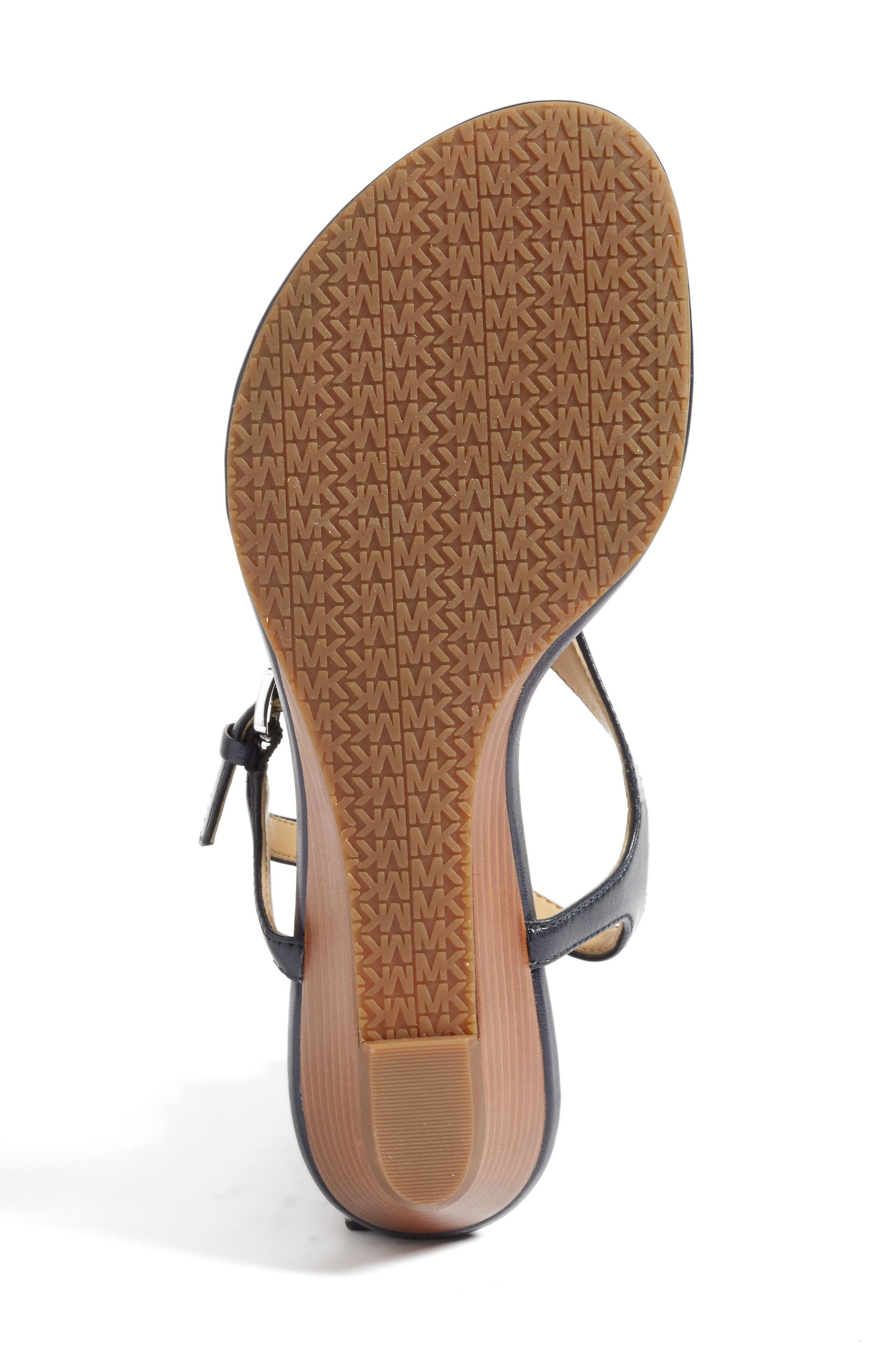 'Ramona' Wedge Sandal,                             Alternate thumbnail 4, color,                             Admiral Nappa Leather