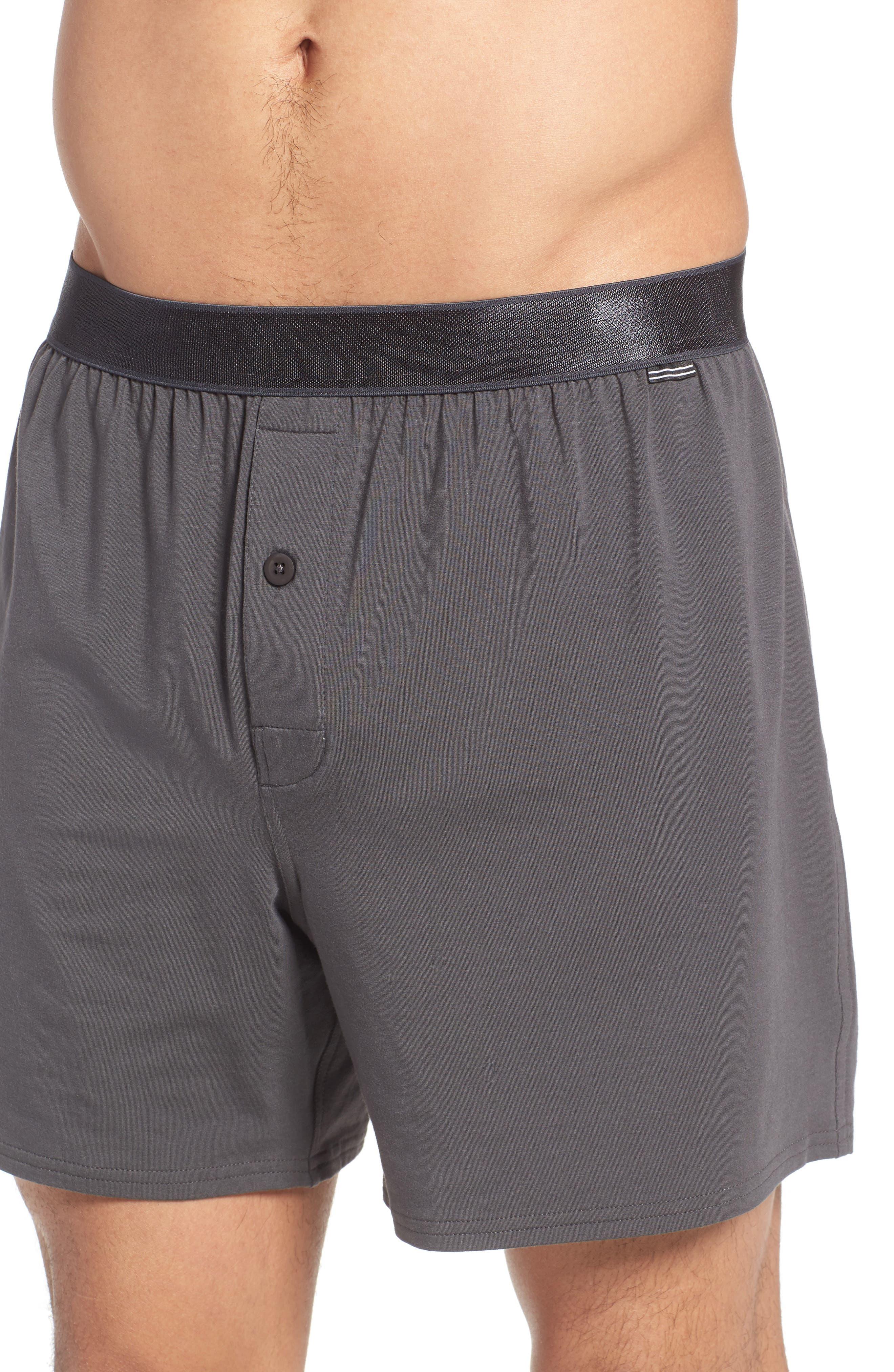 Micro Modal Blend Knit Boxers,                             Alternate thumbnail 4, color,                             Graphite Grey