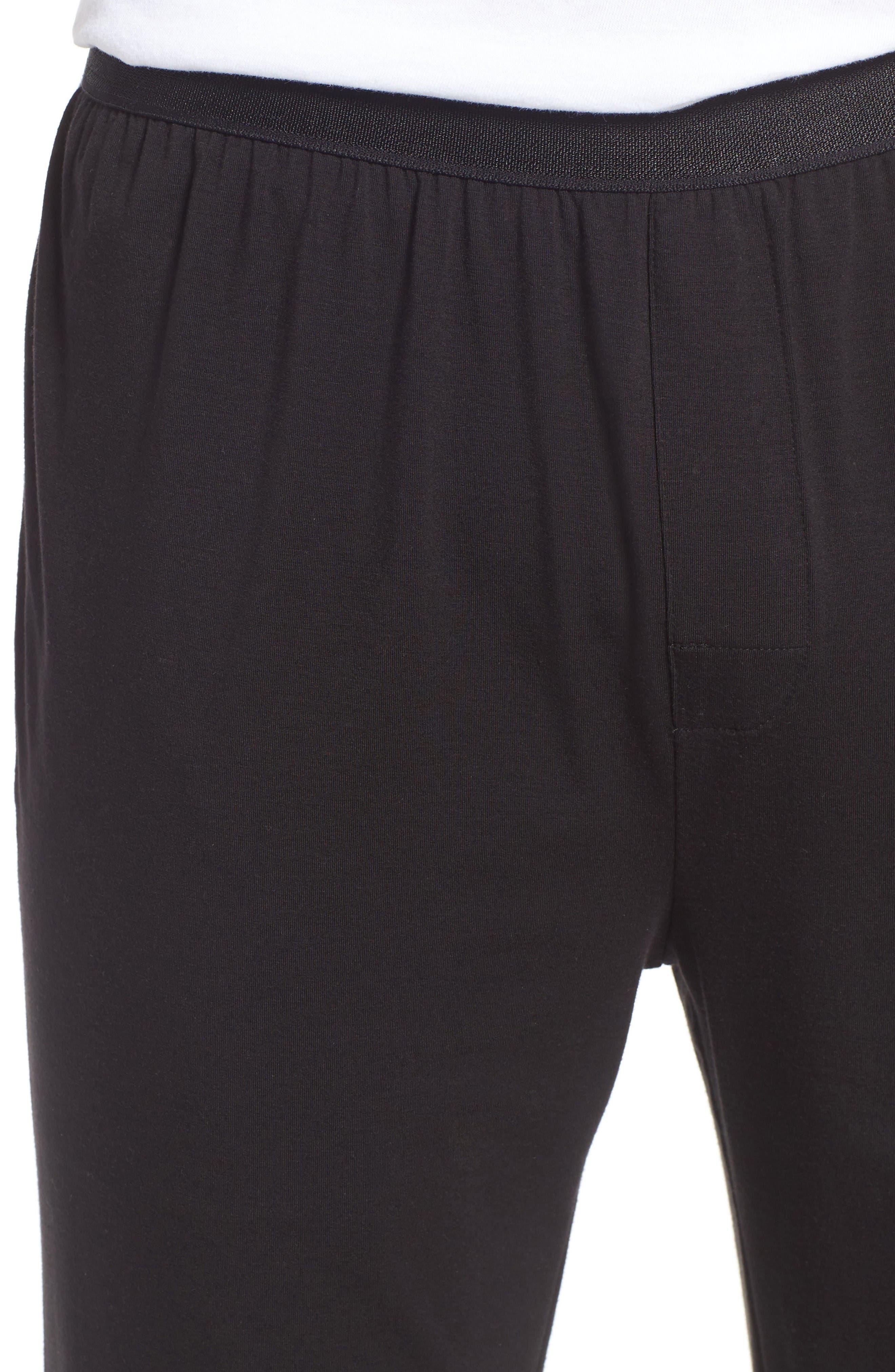 Micromodal Blend Lounge Pants,                             Alternate thumbnail 4, color,                             Black