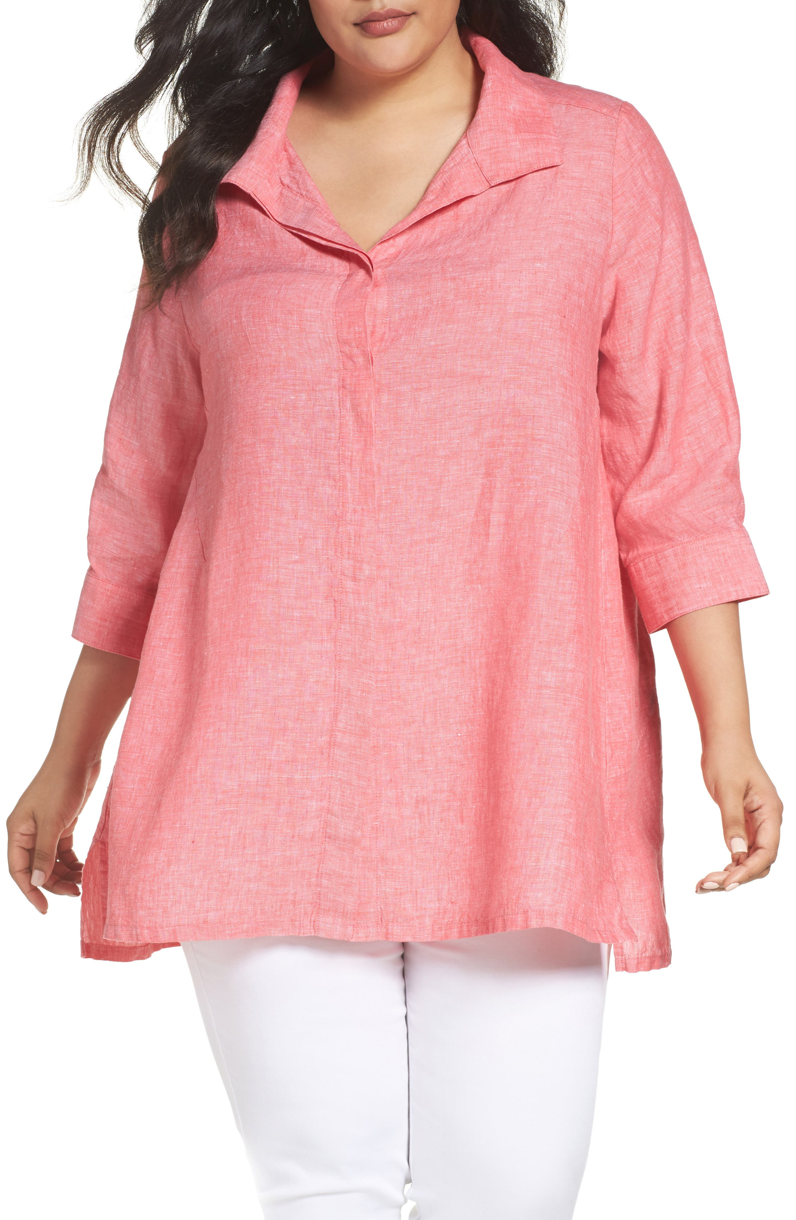 Linen Chambray Tunic,                             Main thumbnail 1, color,                             Hibiscus